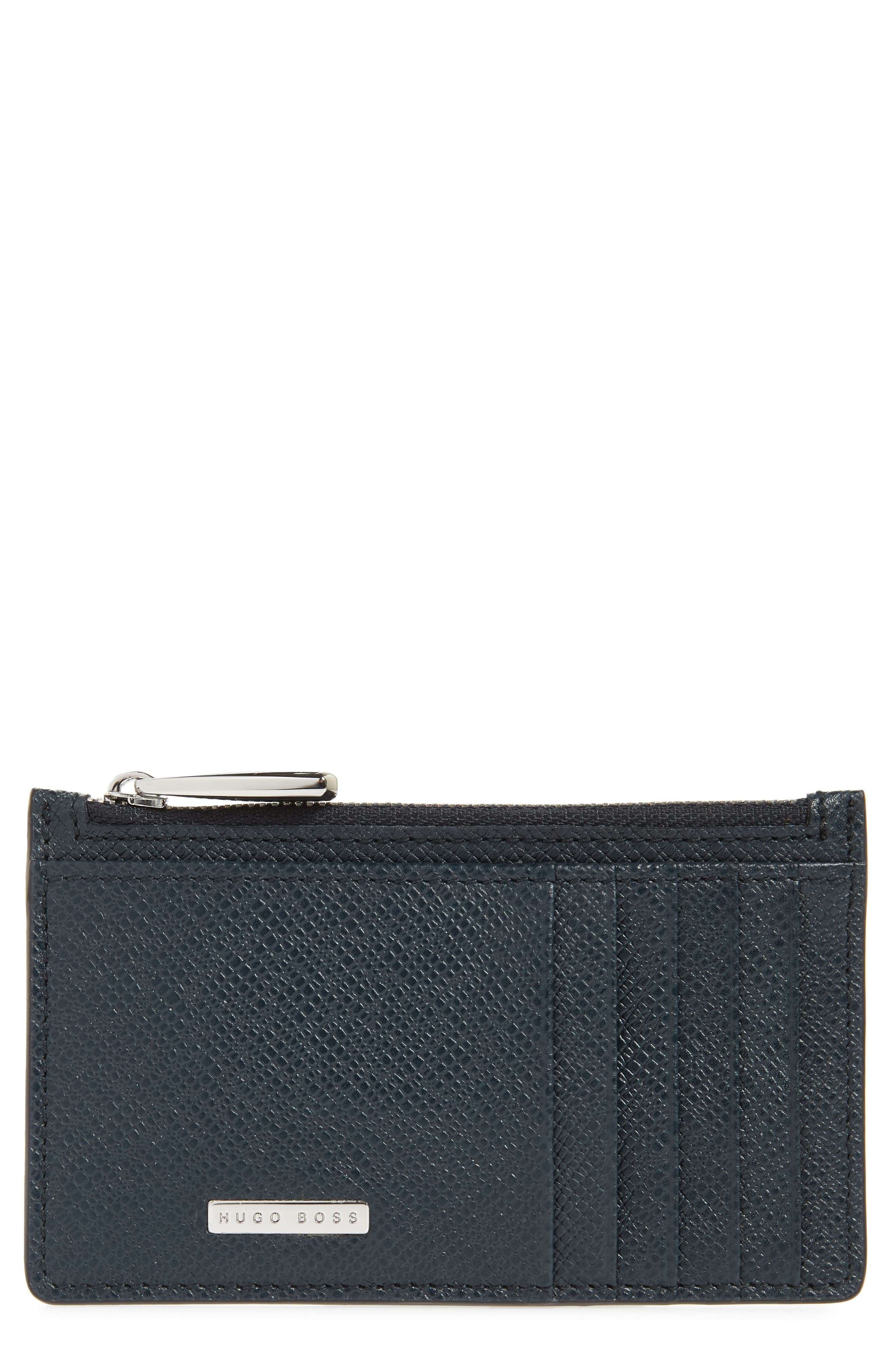 Signature Leather Zip Wallet,                         Main,                         color, Dark Blue