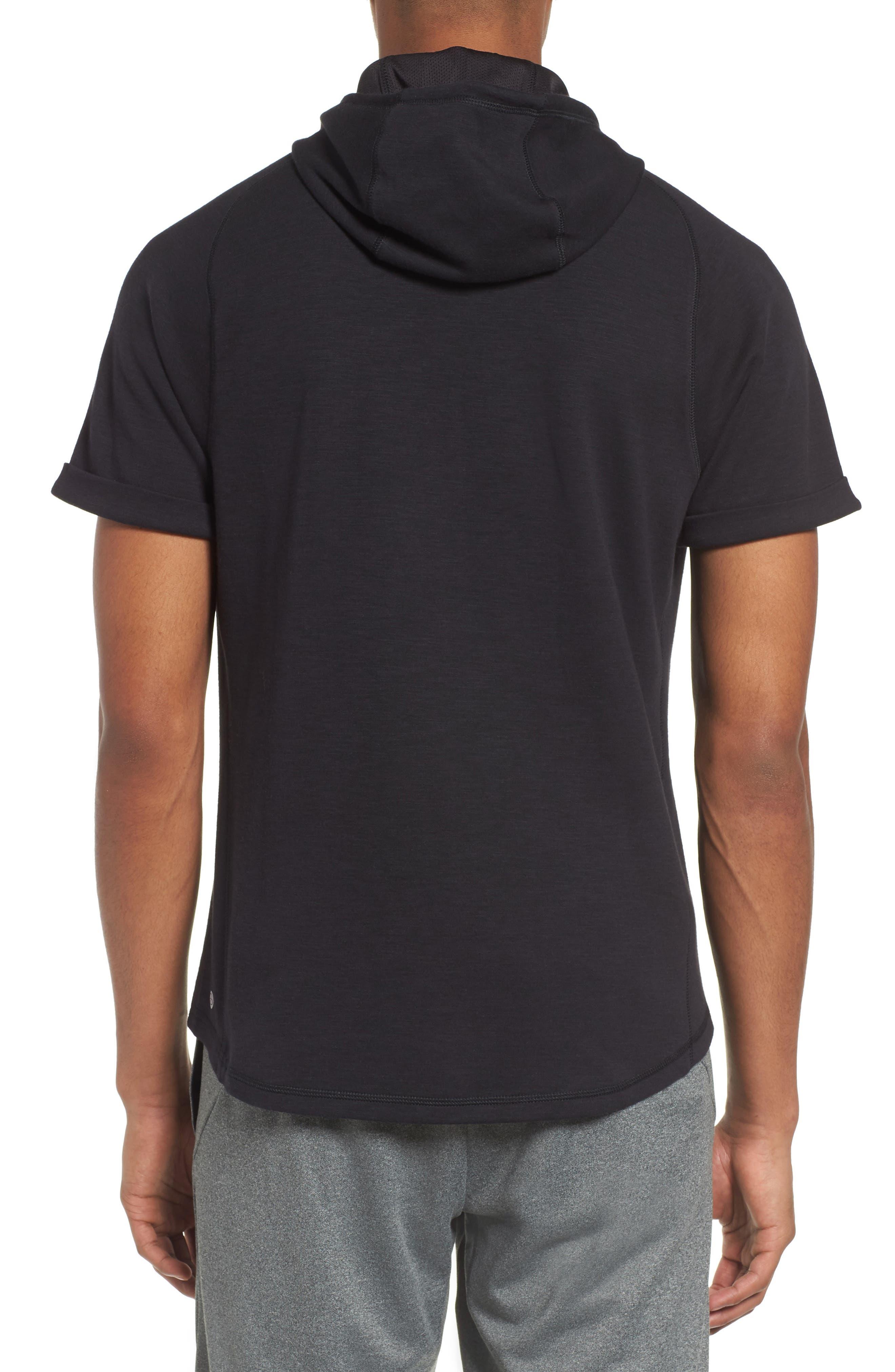 Magnetite Short Sleeve Cotton Blend Hoodie,                             Alternate thumbnail 2, color,                             Black Oxide Melange