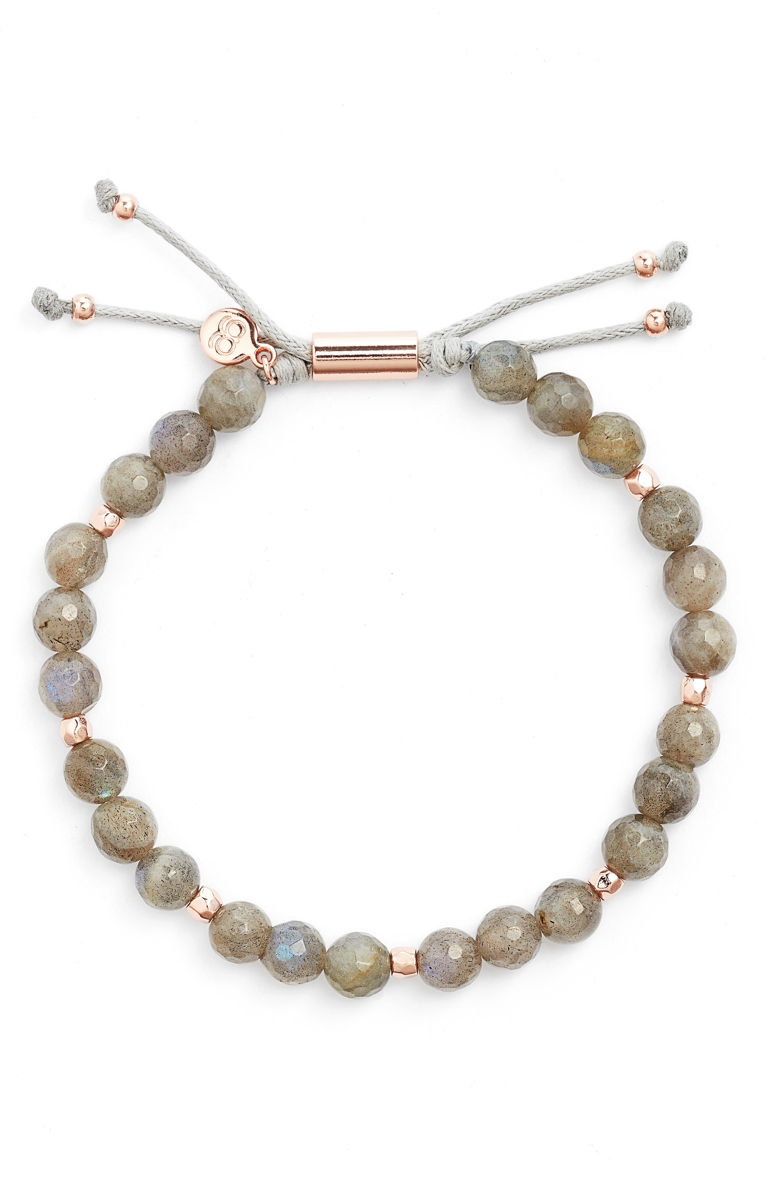 Power Bead Adjustable Bracelet,                             Main thumbnail 1, color,                             Labradorite/ Rose Gold
