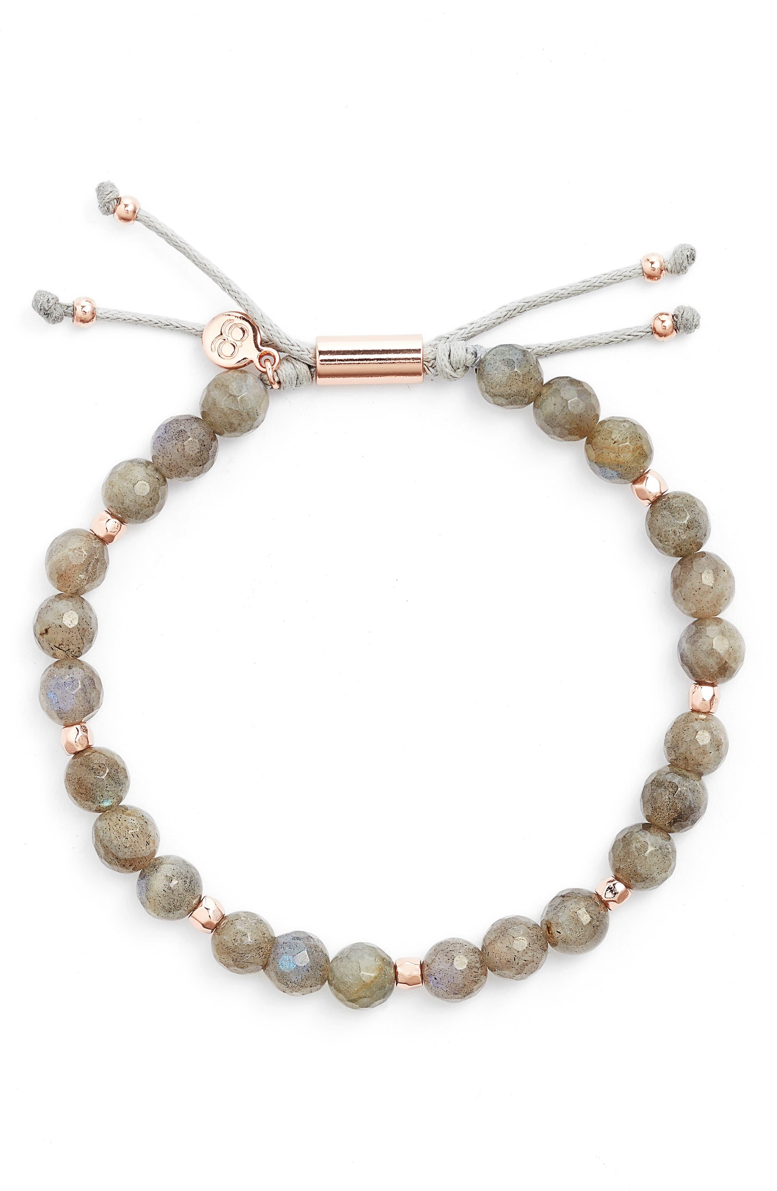 Power Bead Adjustable Bracelet,                         Main,                         color, Labradorite/ Rose Gold