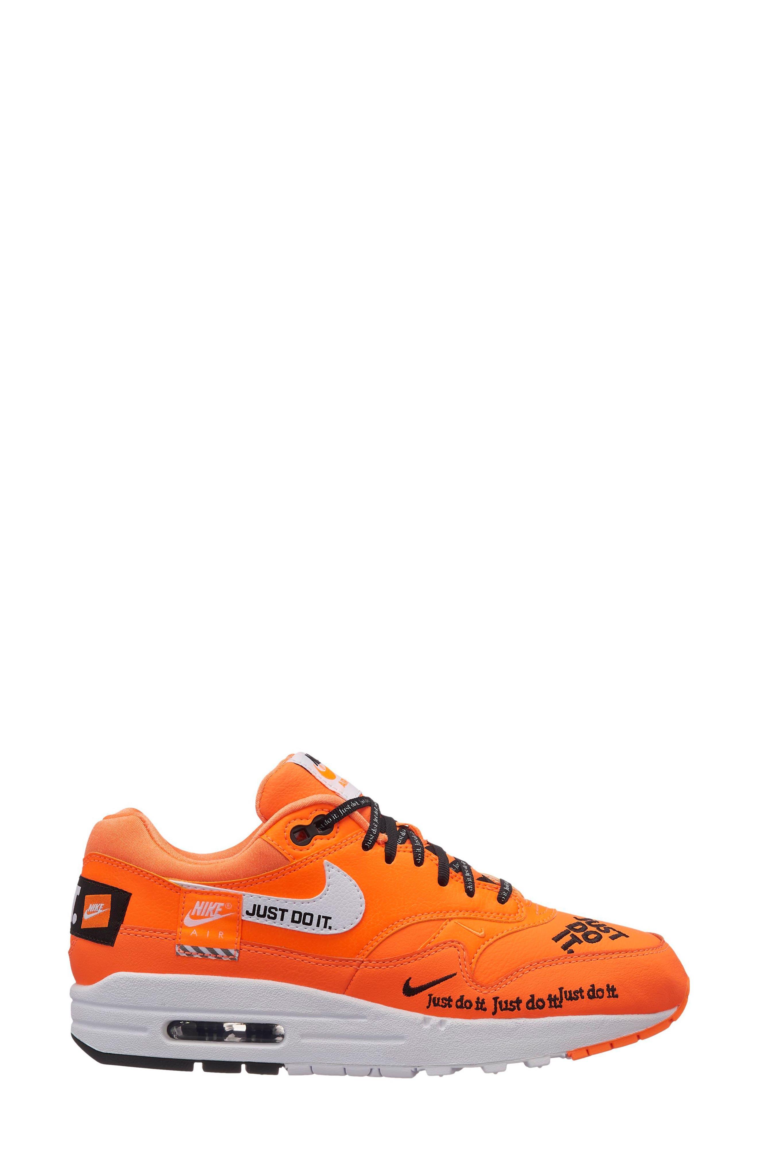 Air Max 1 Lux Sneaker,                             Main thumbnail 1, color,                             Total Orange/ White-Black