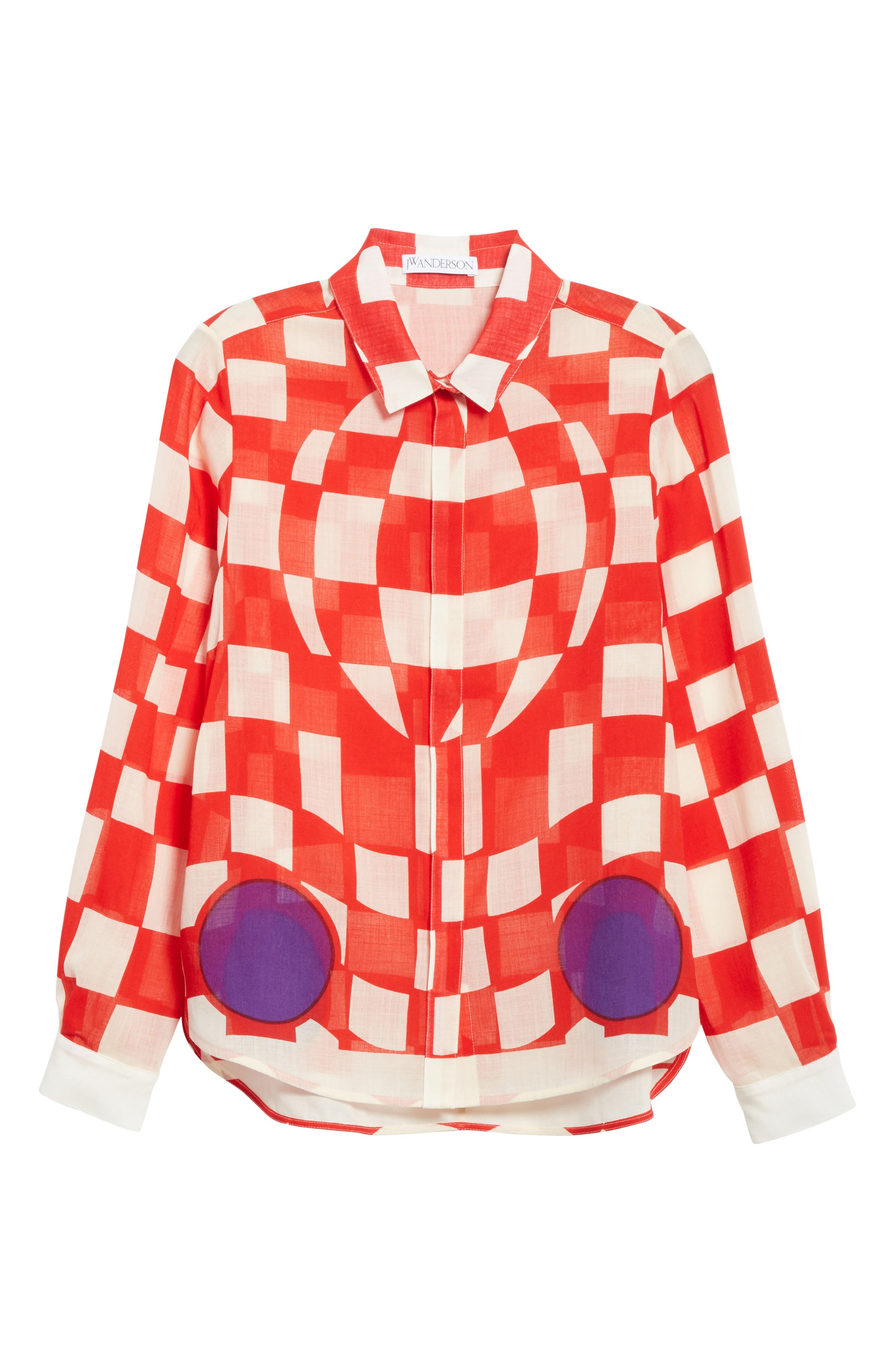 Checkerboard Print Blouse,                             Alternate thumbnail 6, color,                             Pillar Box Red