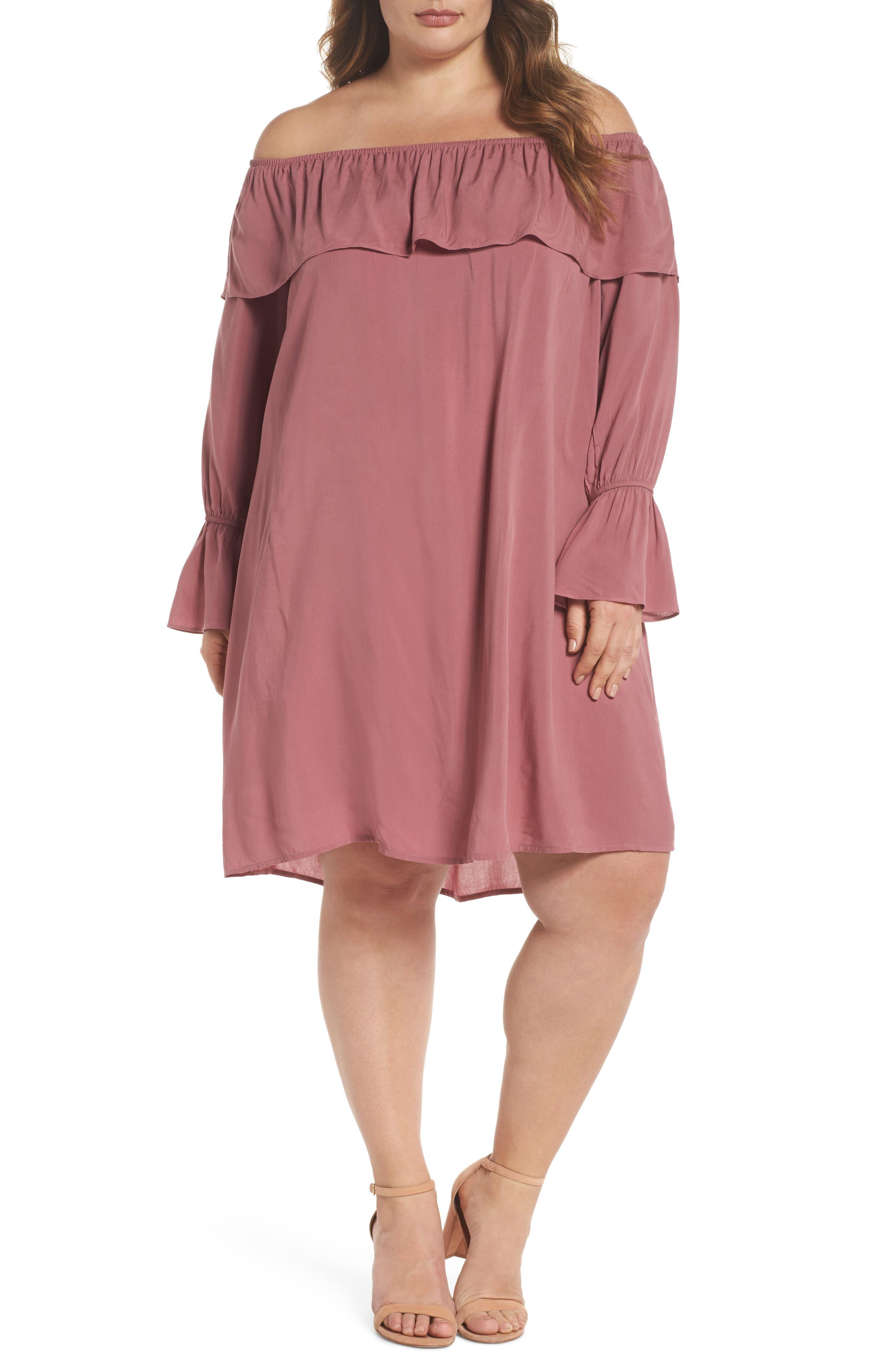 Glamorous Ruffle Off-the-Shoulder Shift Dress (Plus Size)