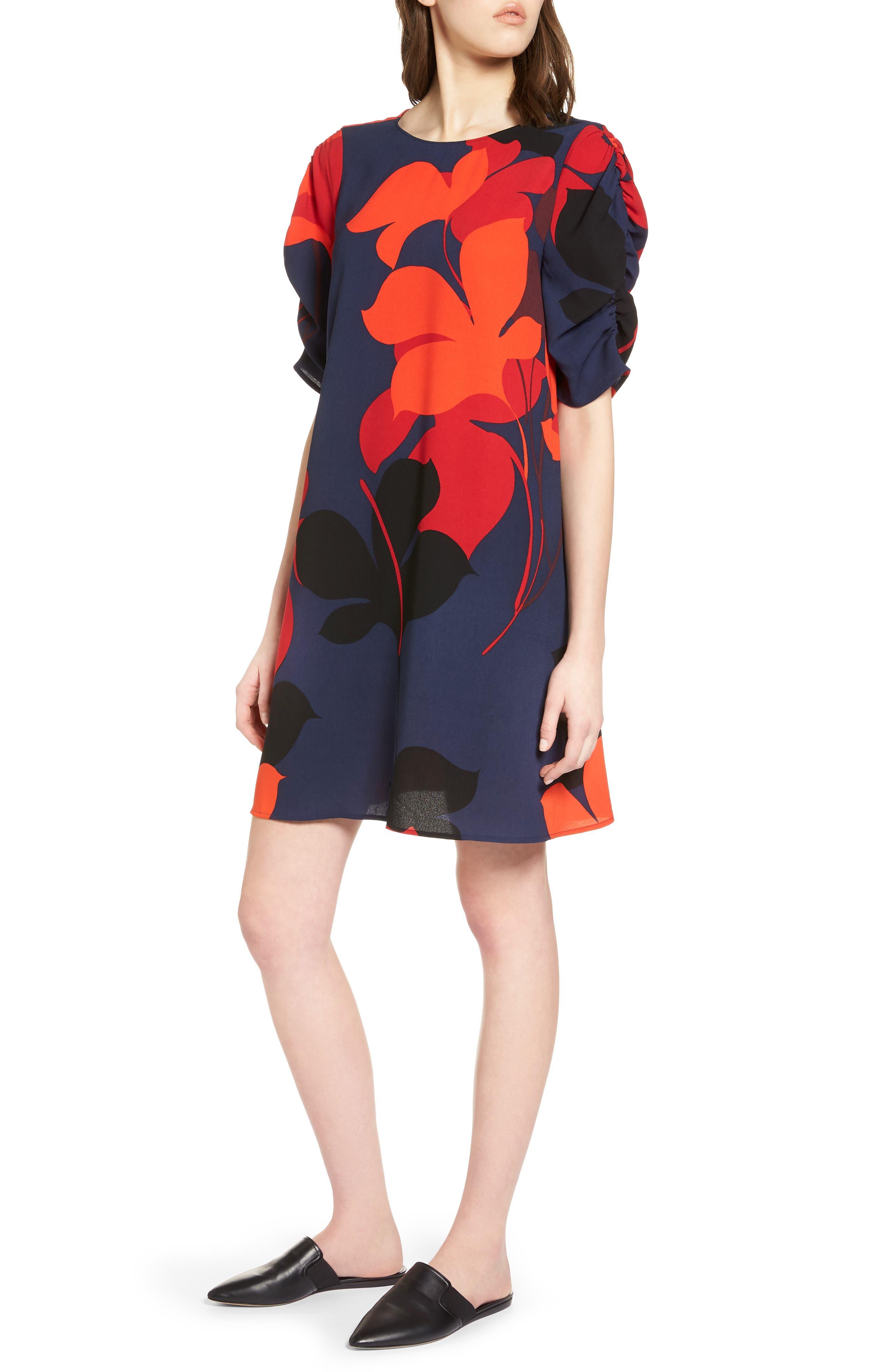 Halogen® Ruched Sleeve Crepe Dress