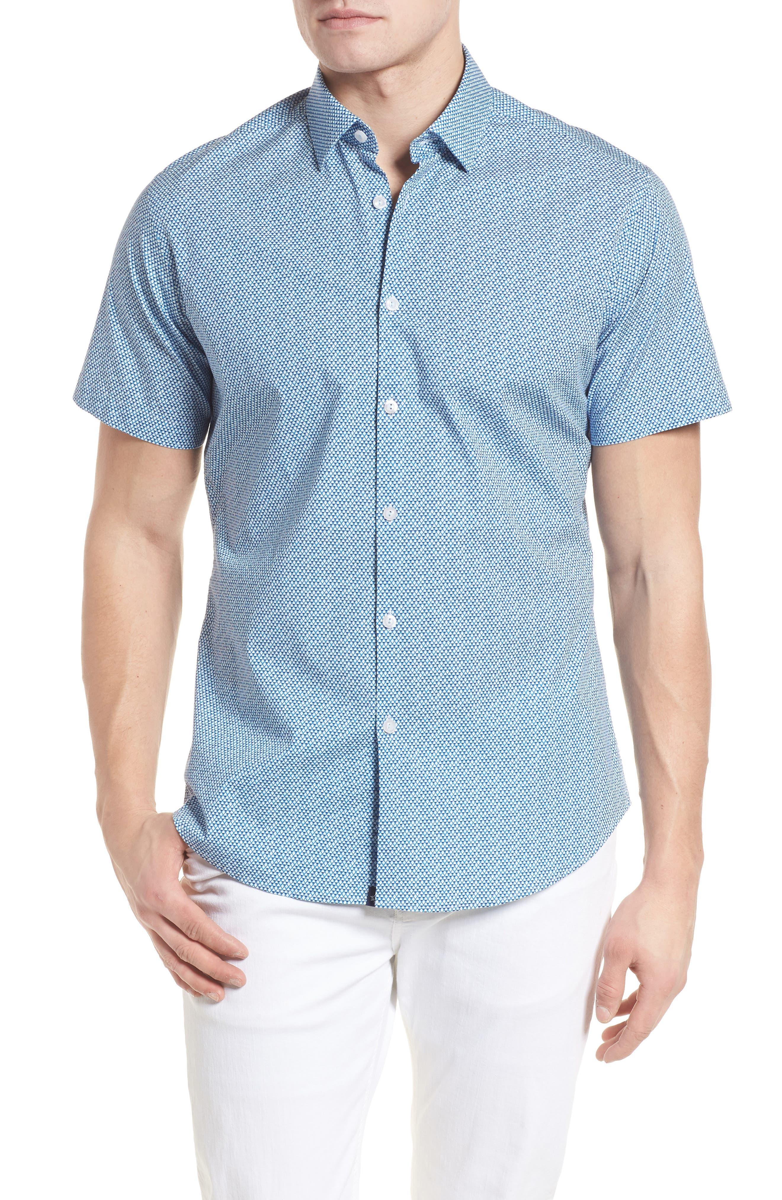 Stone Rose Slim Fit Diamond Print Sport Shirt