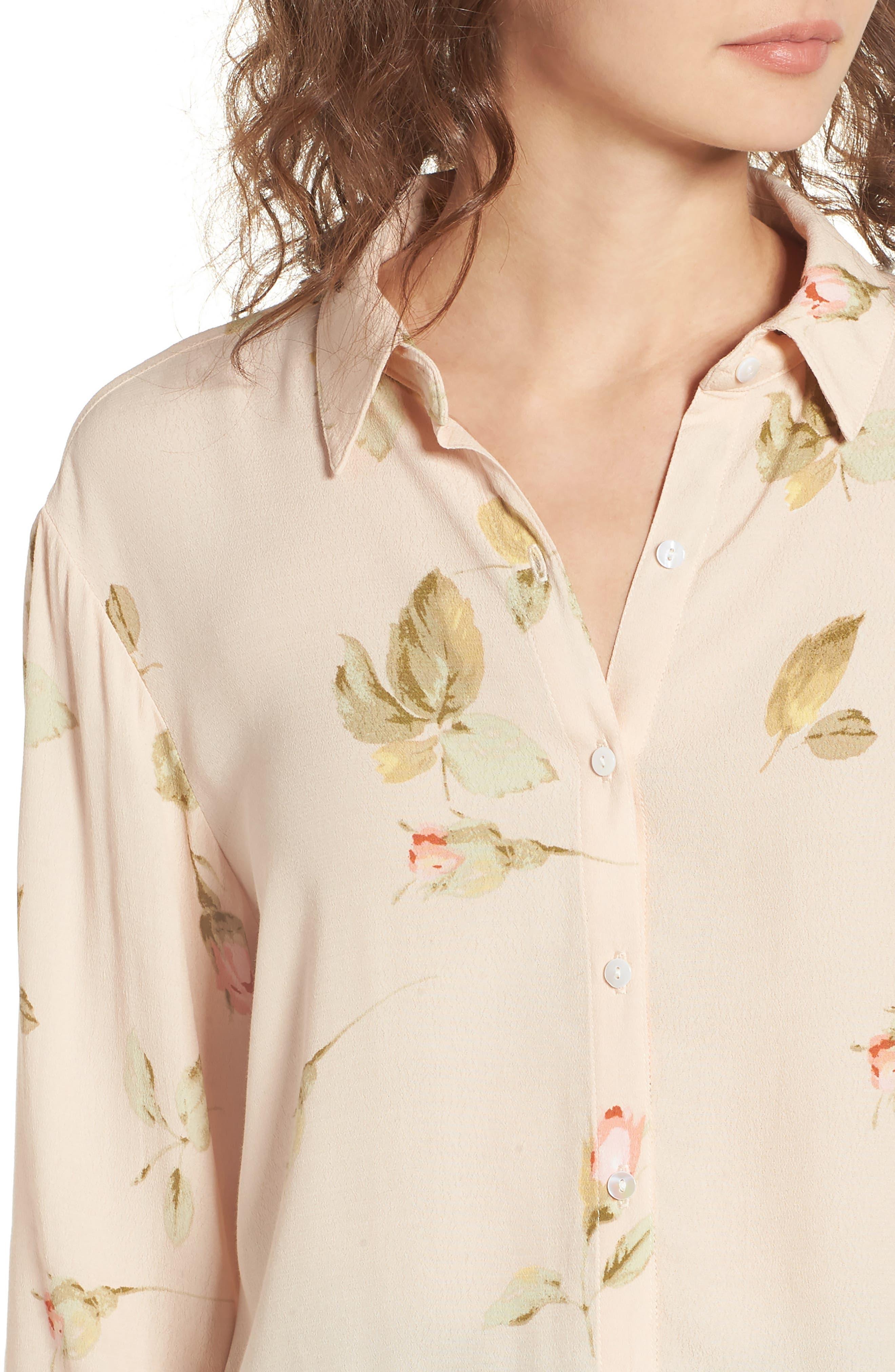 Sinclair Floral Print Shirt,                             Alternate thumbnail 4, color,                             Taupe Multi