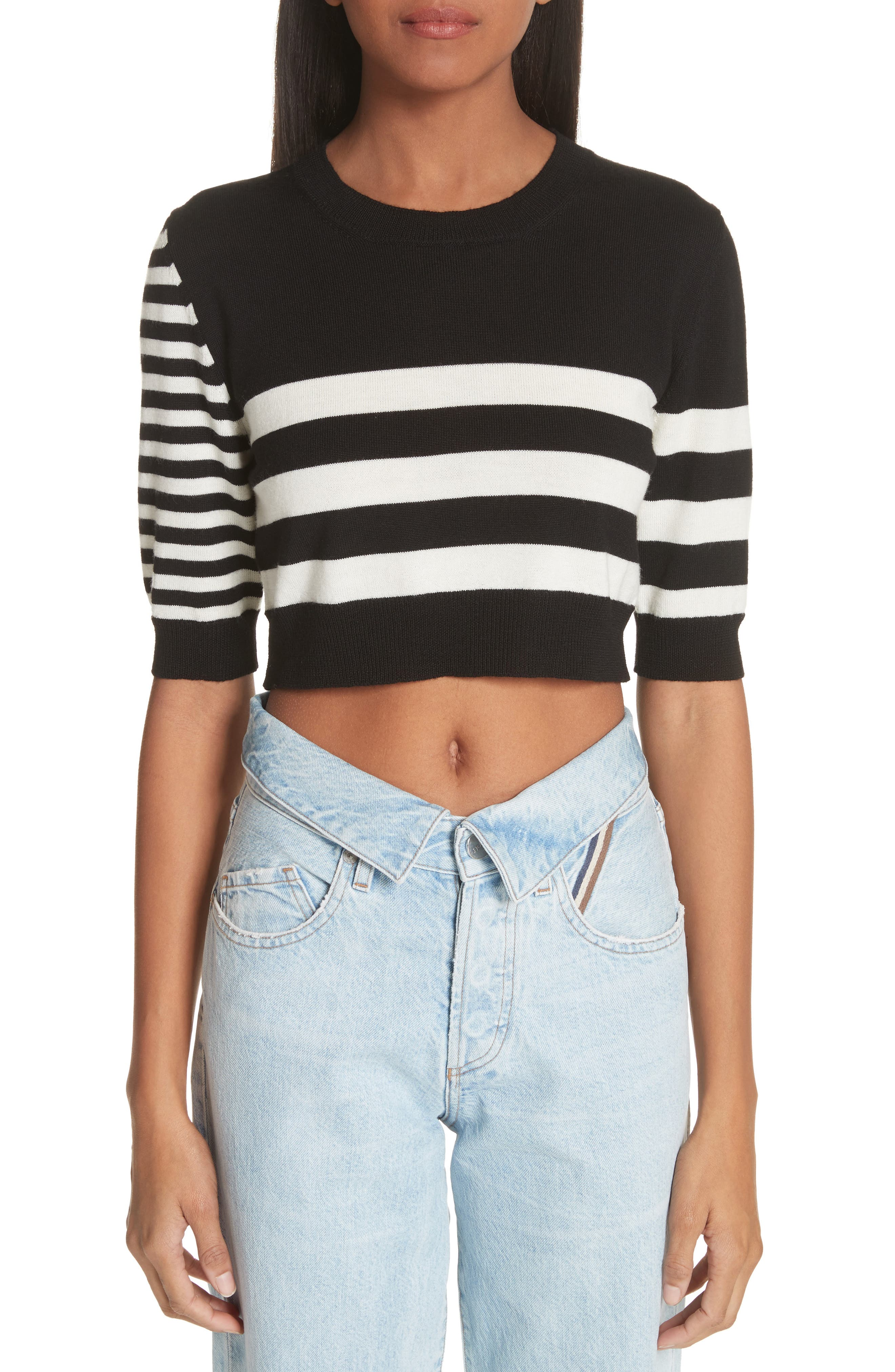 Love Stripe Crop Wool Sweater,                         Main,                         color, Black/ White