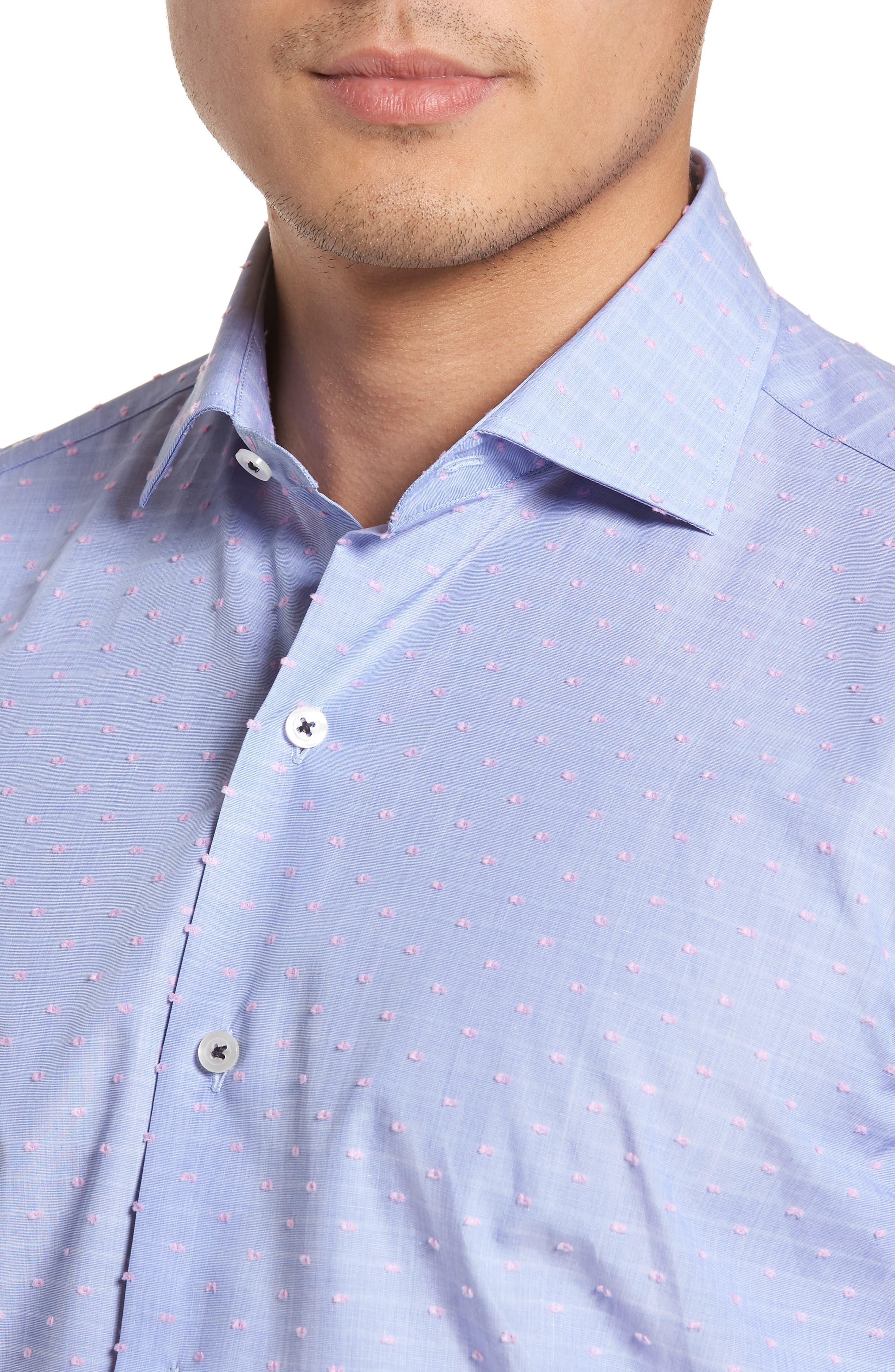 Tailored Fit Soft Touch Fil Coupé Sport Shirt,                             Alternate thumbnail 4, color,                             Blue