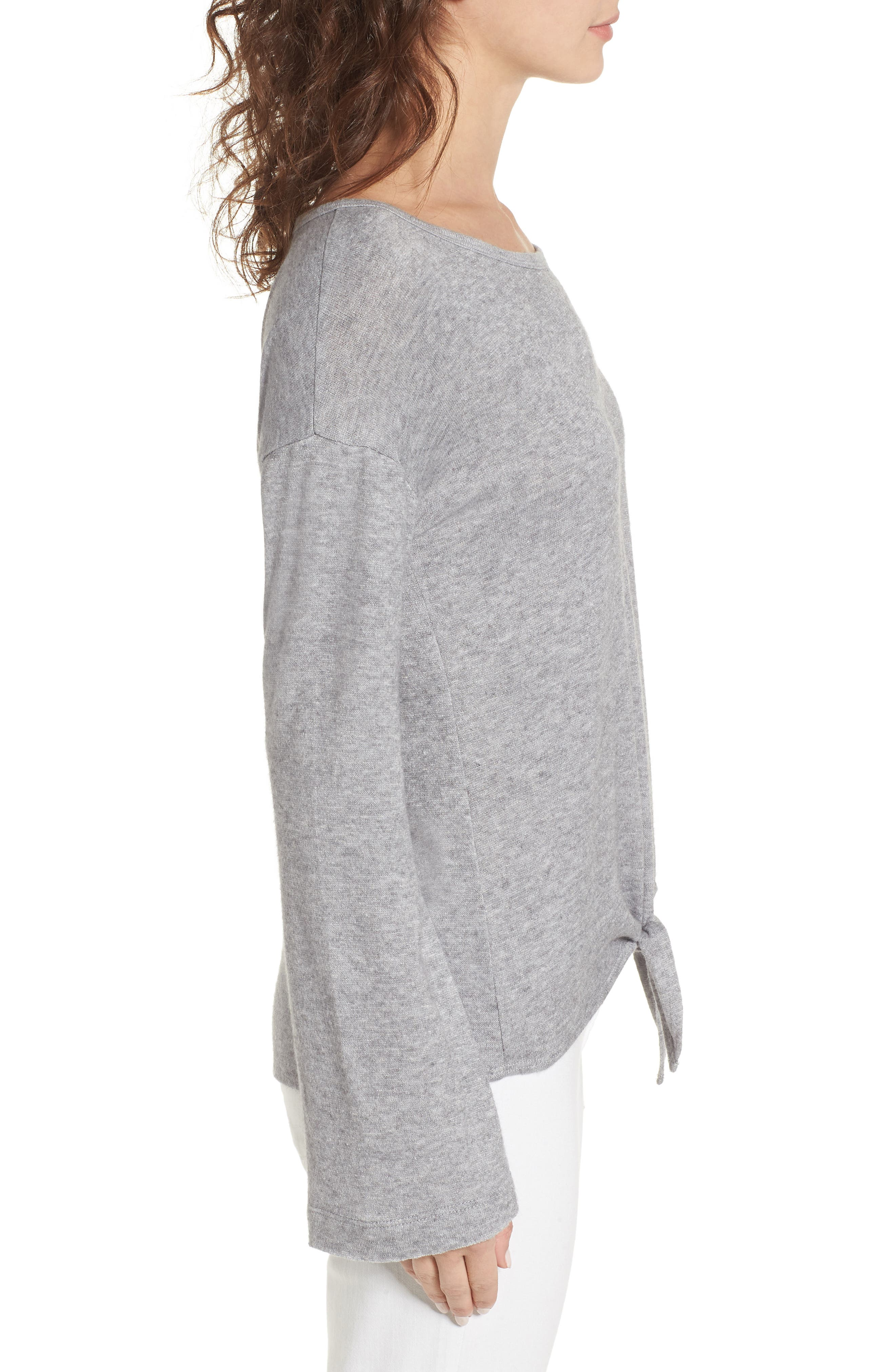 Tie Waist Pullover,                             Alternate thumbnail 3, color,                             Grey