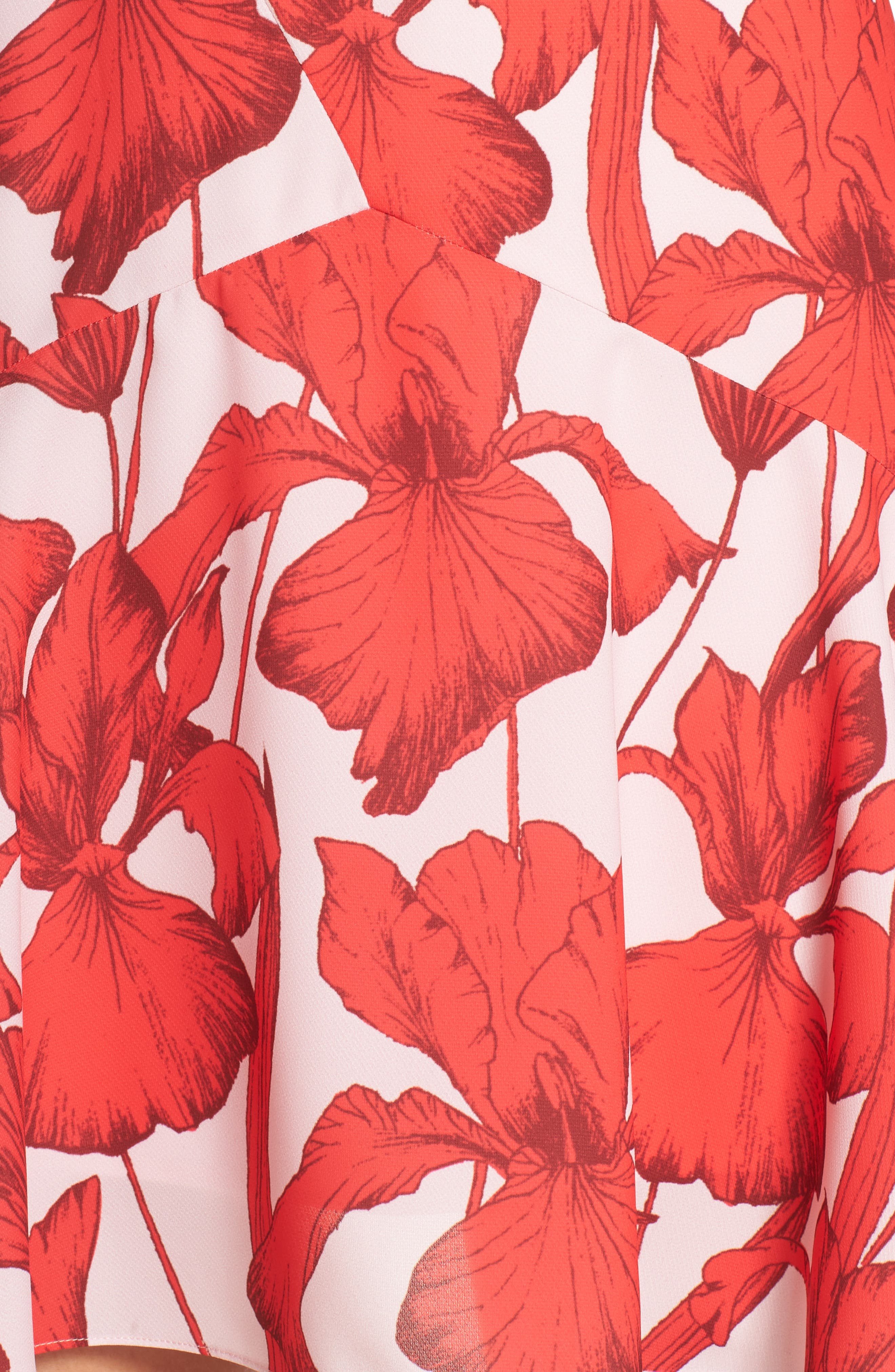 Iris Print Surplice Minidress,                             Alternate thumbnail 5, color,                             Pink Red Iris Floral
