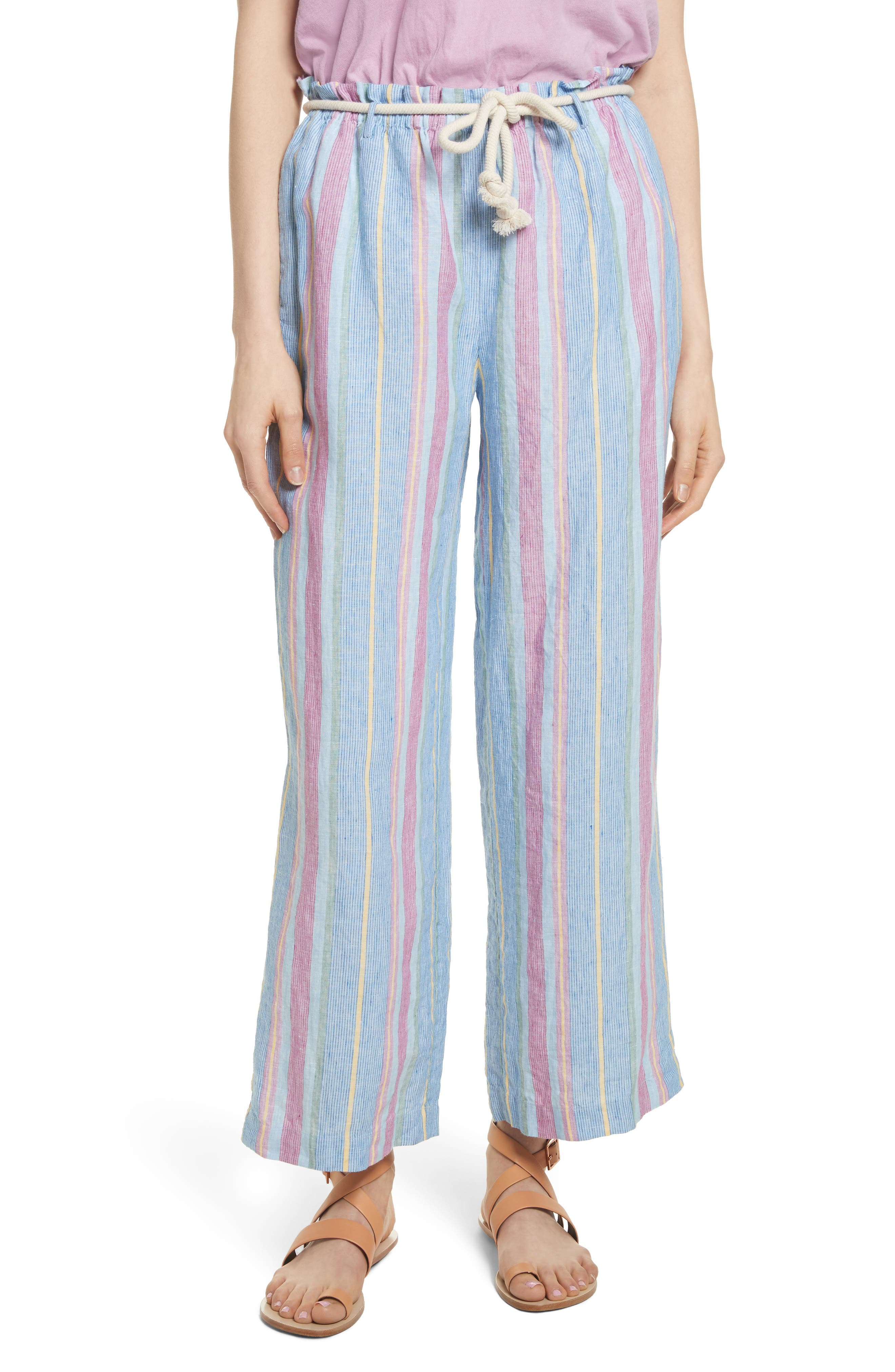 Easy Stripe Linen Pants,                         Main,                         color, Purple Multi