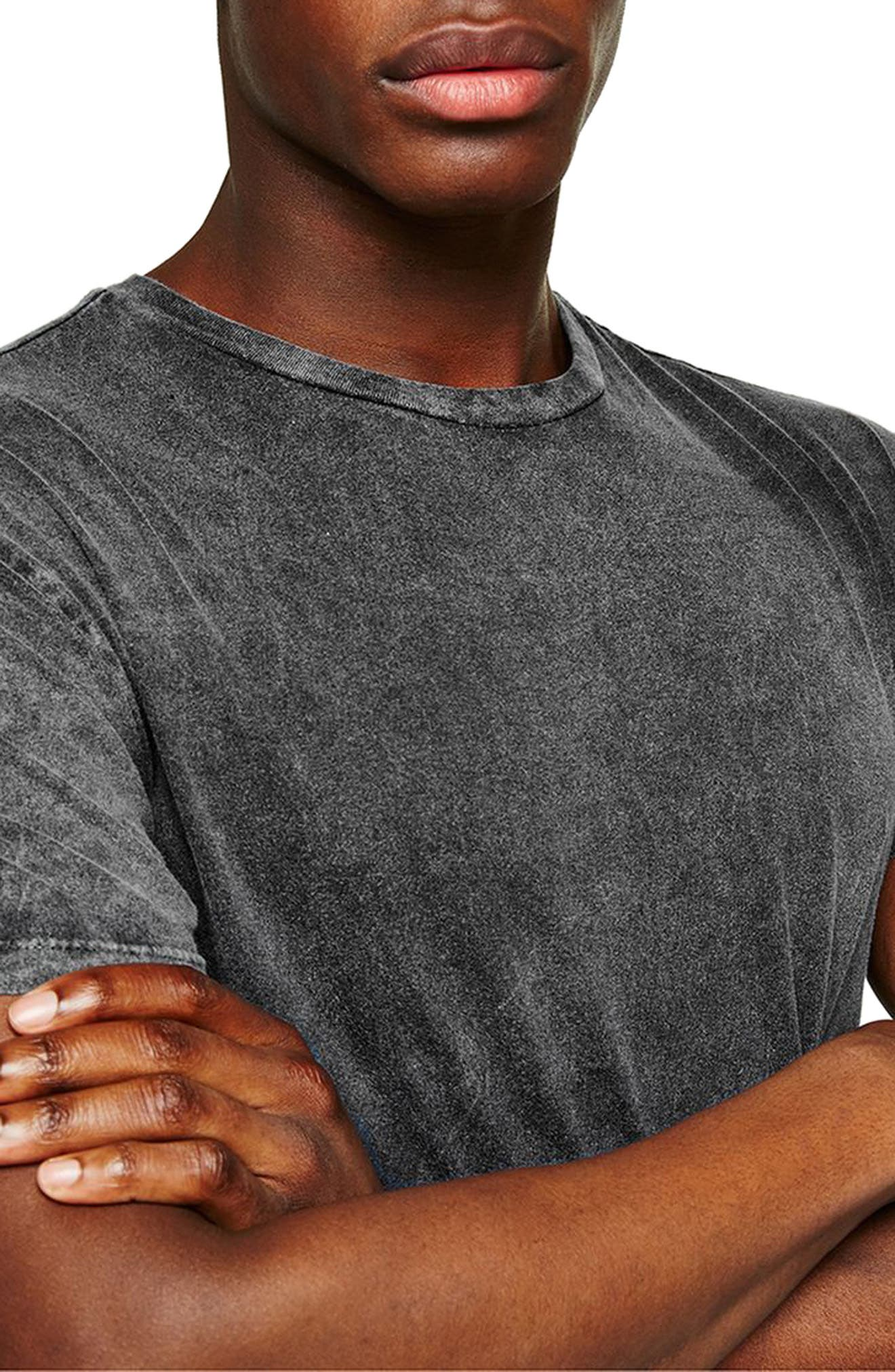 Muscle Fit Longline Tee,                             Alternate thumbnail 3, color,                             Grey