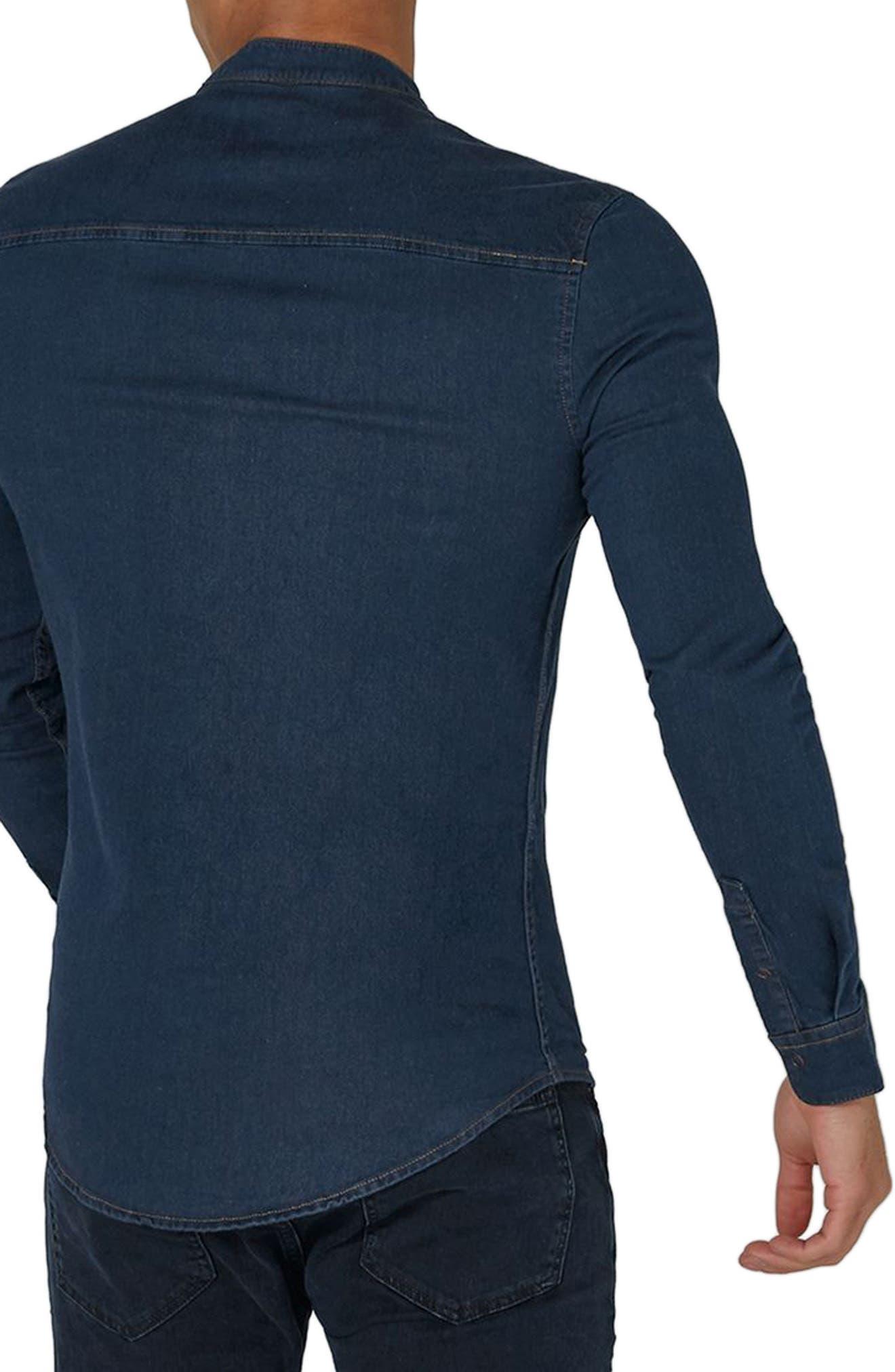 Band Collar Denim Shirt,                             Alternate thumbnail 2, color,                             Blue
