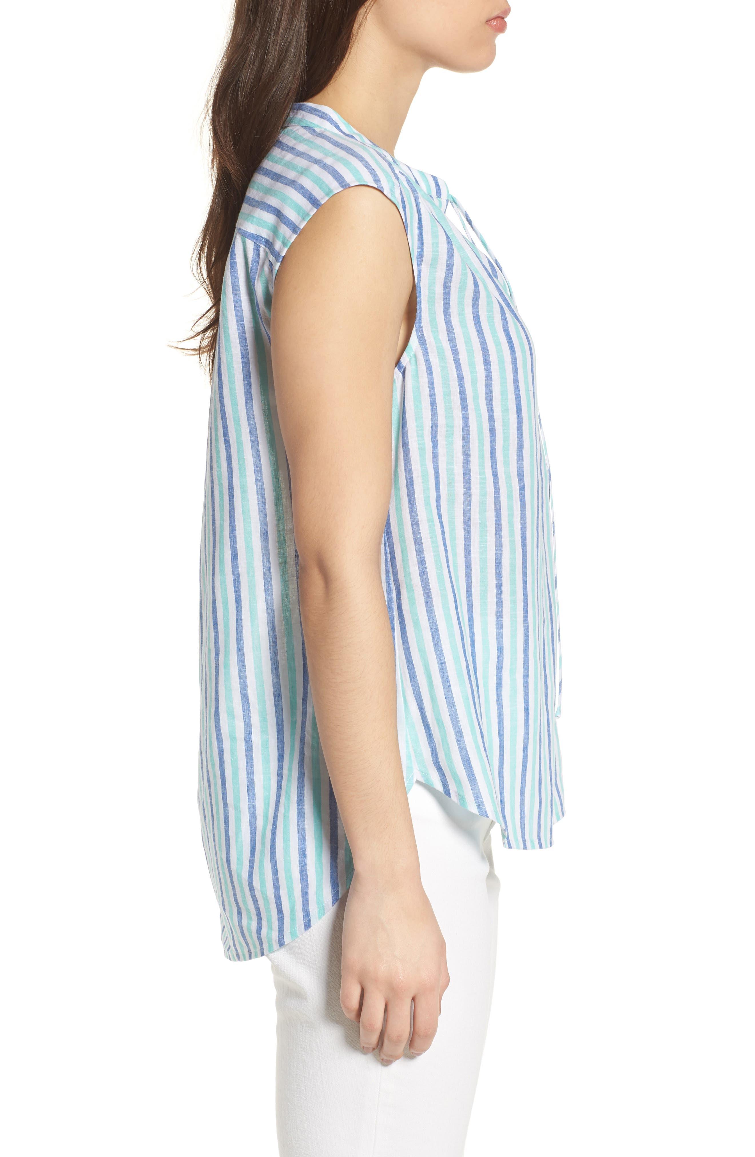 Hope Bay Linen Cotton Stripe Top,                             Alternate thumbnail 3, color,                             Capri Blue