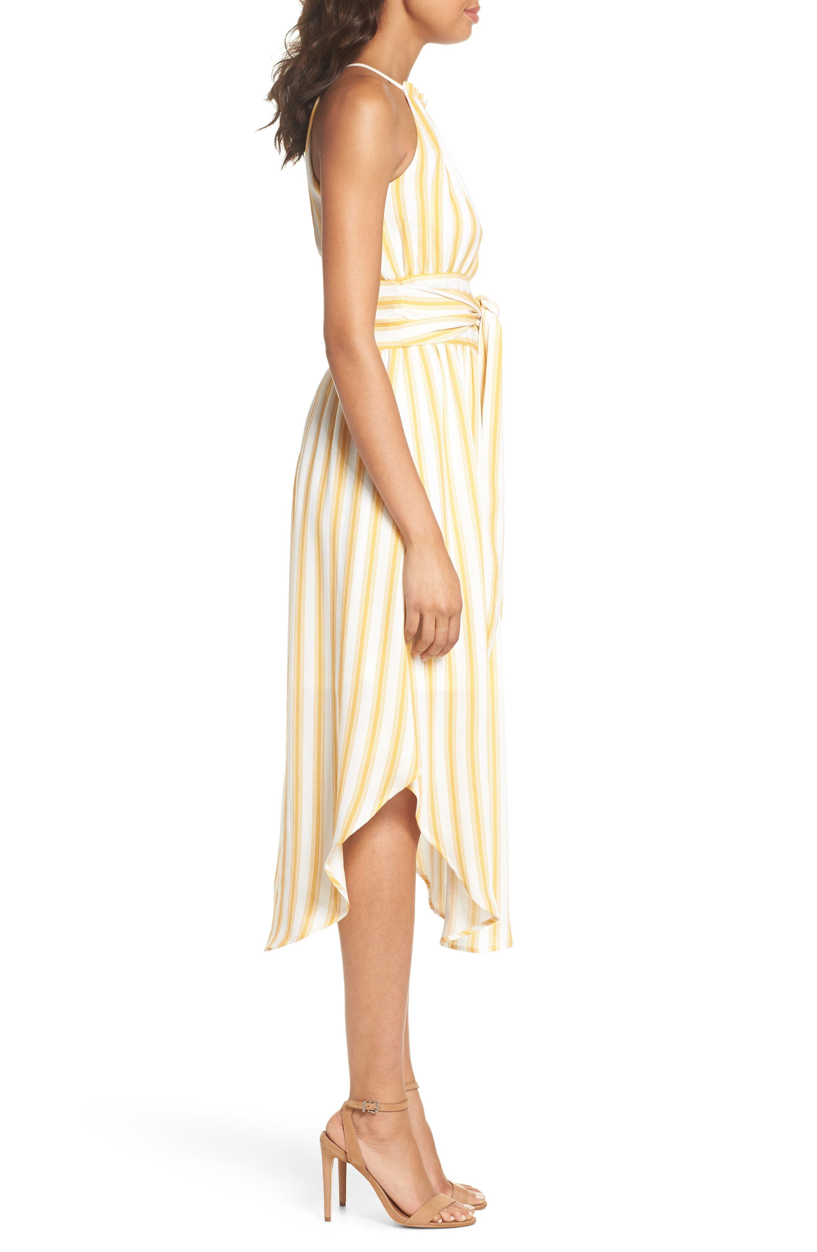 Leena Stripe Midi Dress,                             Alternate thumbnail 3, color,                             Mustard