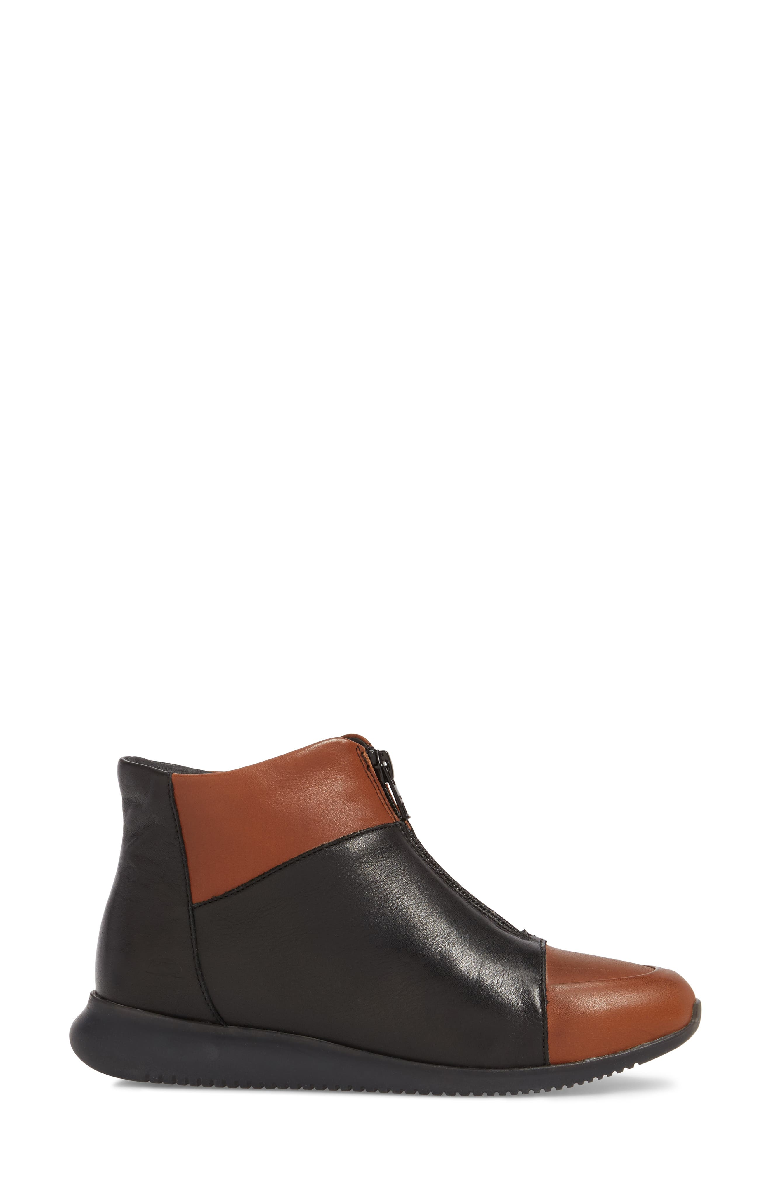 Roy Wool Lined Cap Toe Bootie,                             Alternate thumbnail 3, color,                             Cuoio/ Black Leather