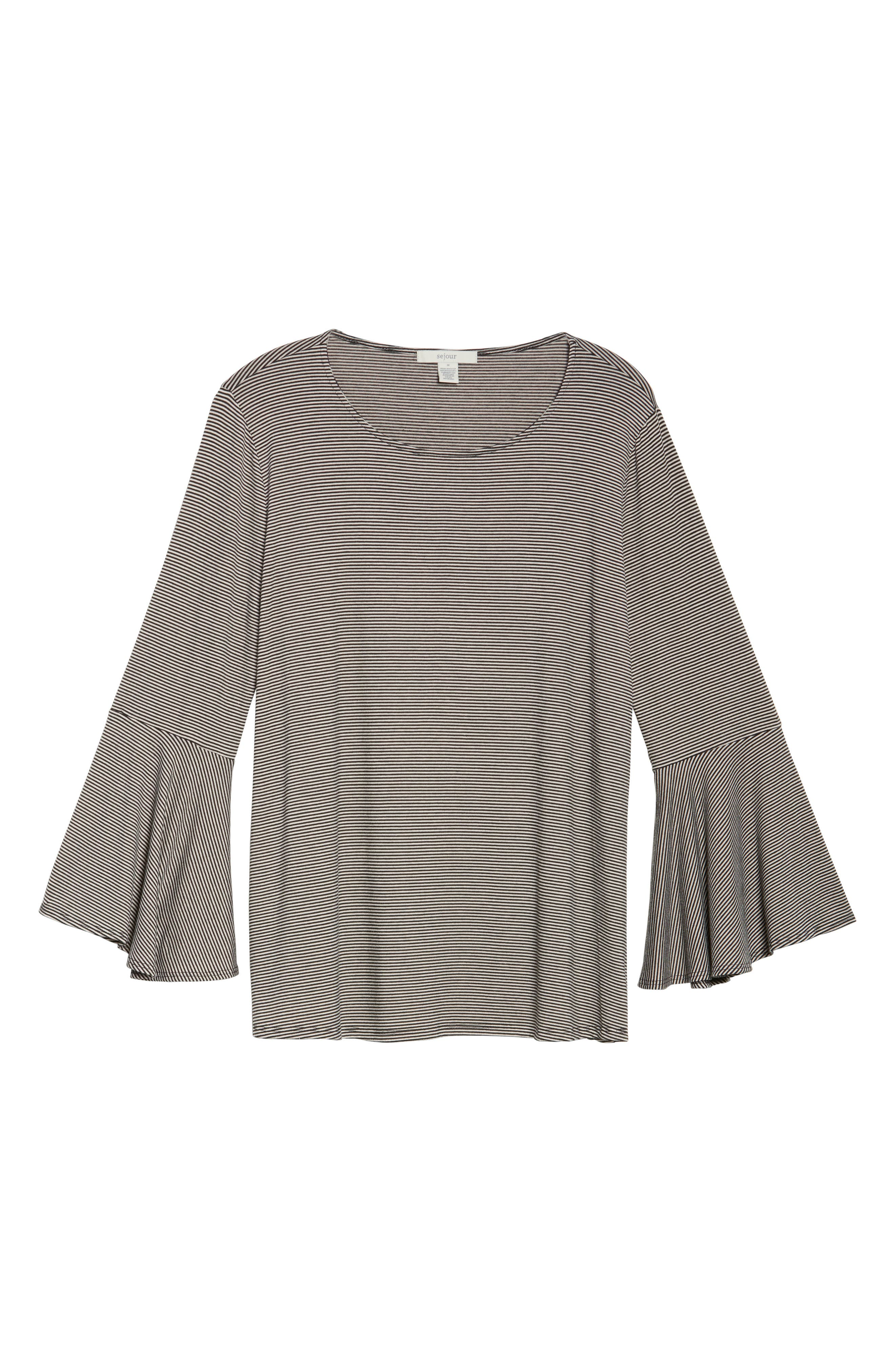 Bell Sleeve Top,                             Alternate thumbnail 4, color,                             Charcoal Heather- Black Stripe