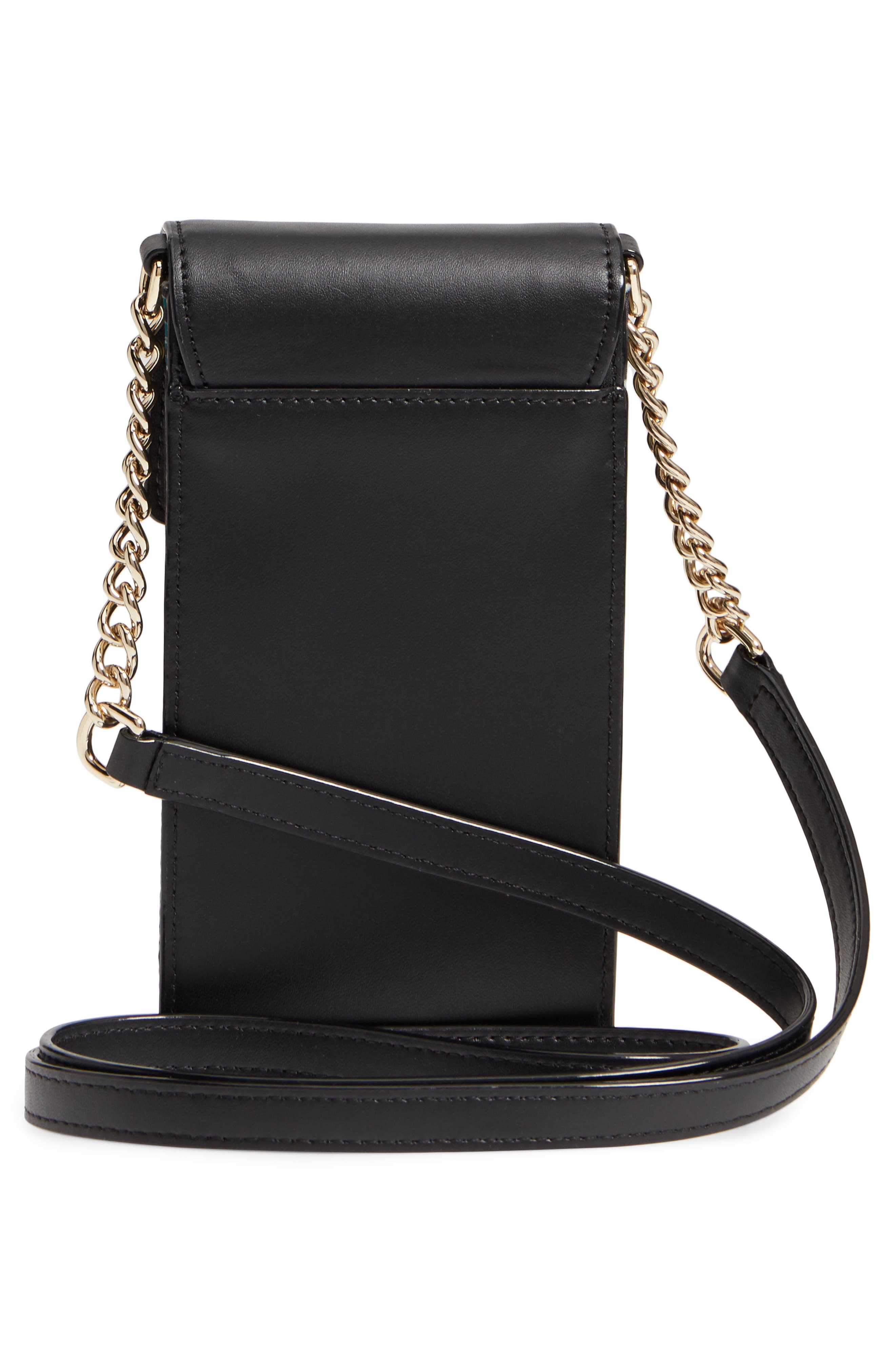 botanical print leather phone crossbody bag,                             Alternate thumbnail 4, color,                             Black Multi