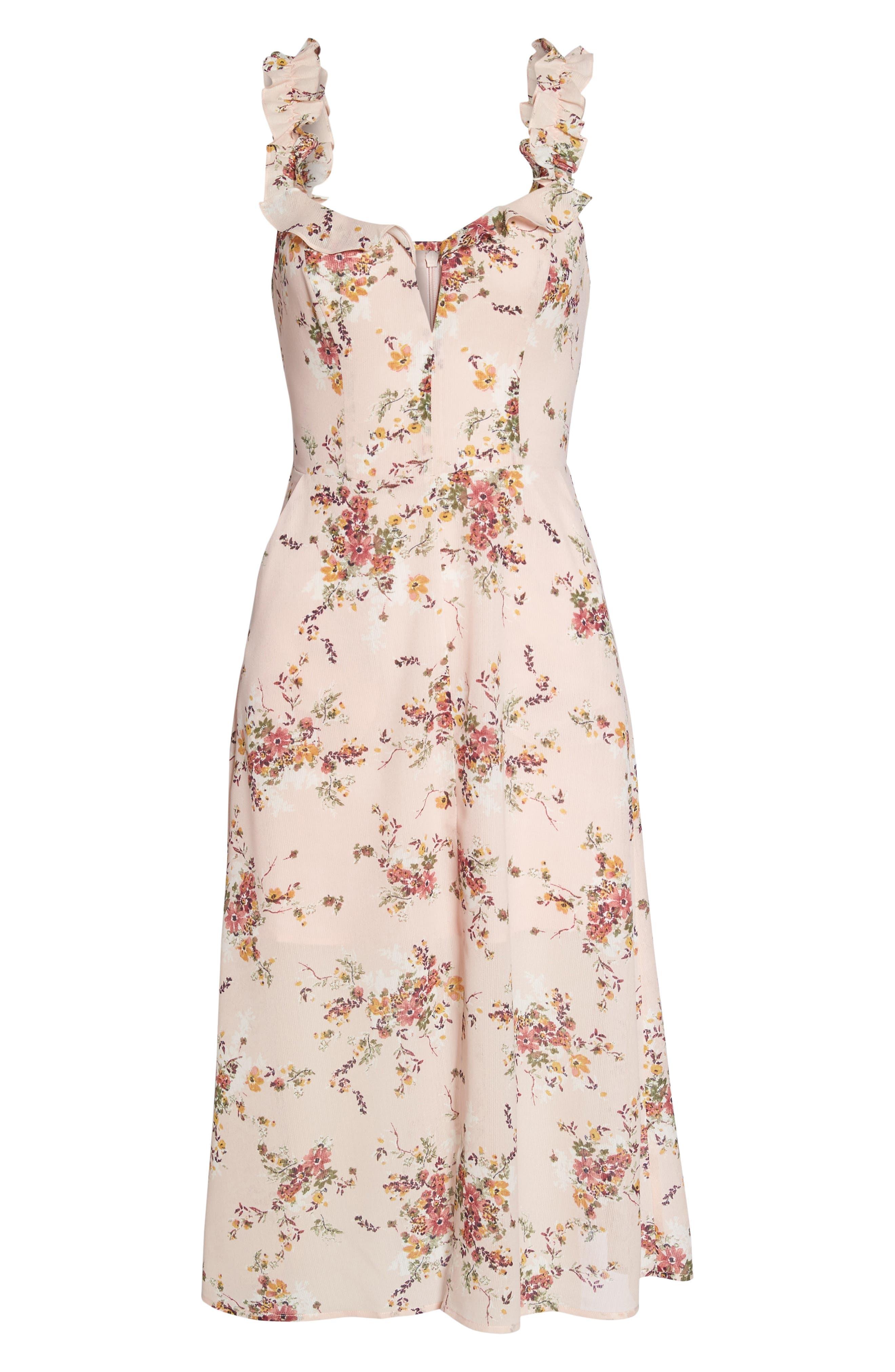 Atwater Village Midi Dress,                             Alternate thumbnail 6, color,                             Blush Vintage Bouquet