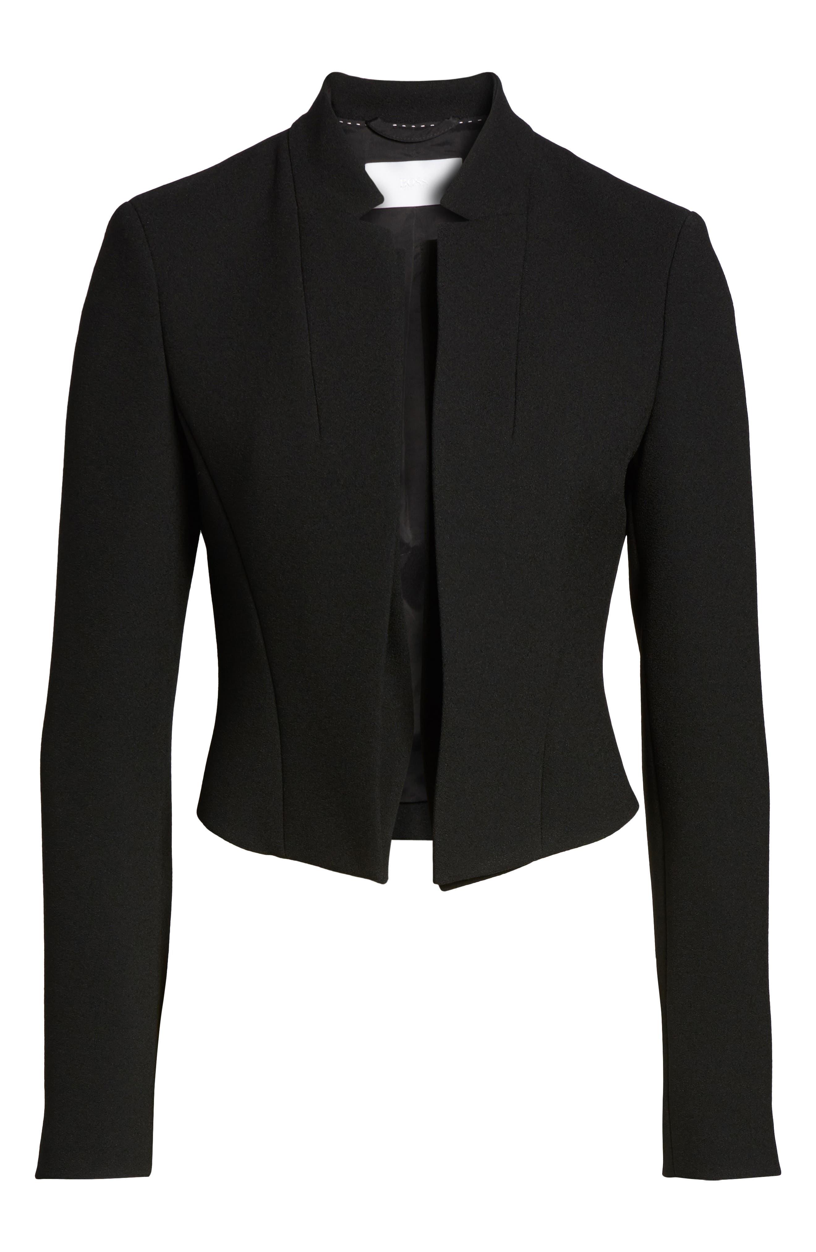 Jisala Compact Crepe Crop Jacket,                             Alternate thumbnail 5, color,                             Black