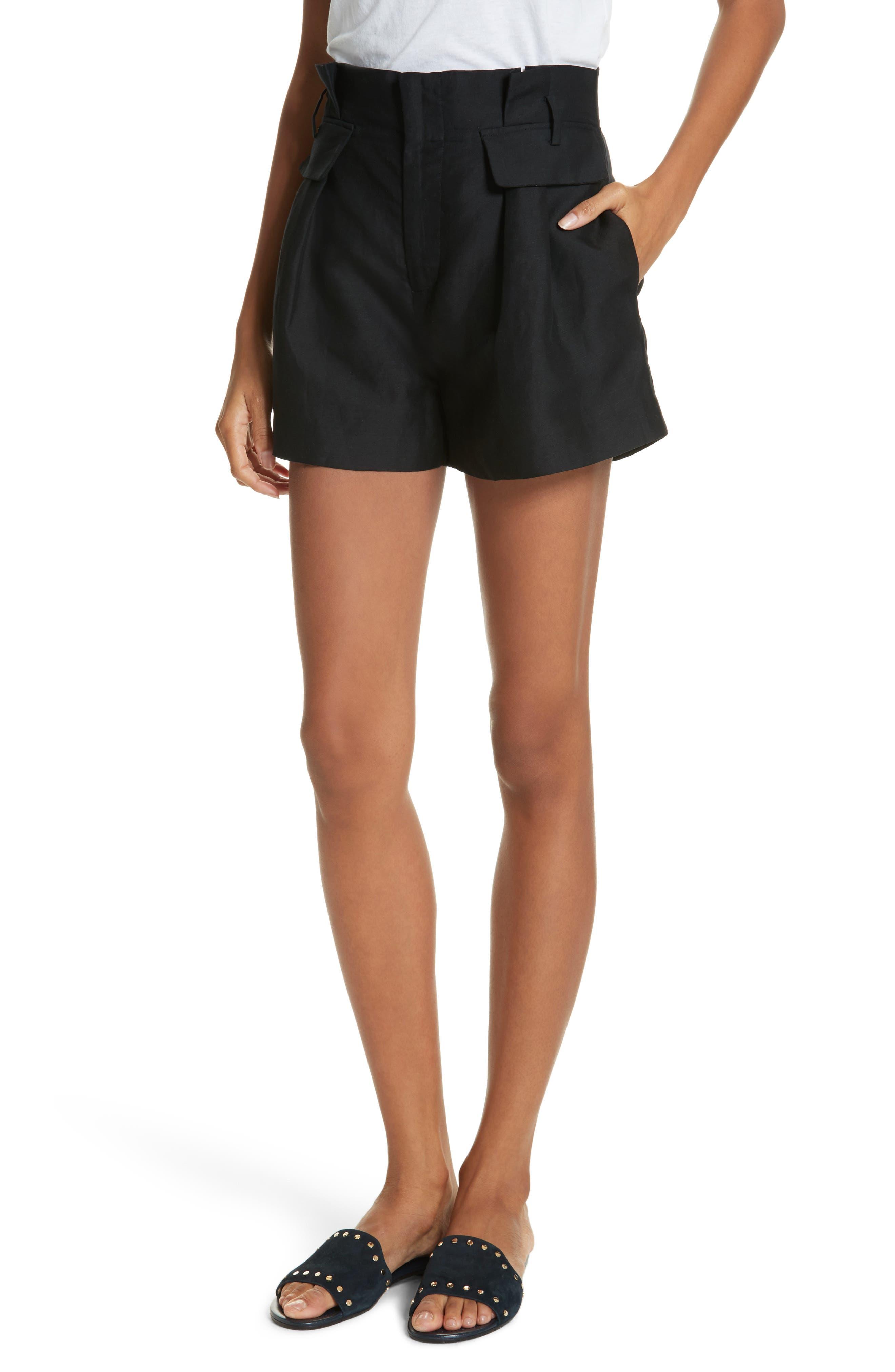 Paperbag Shorts,                         Main,                         color, Noir