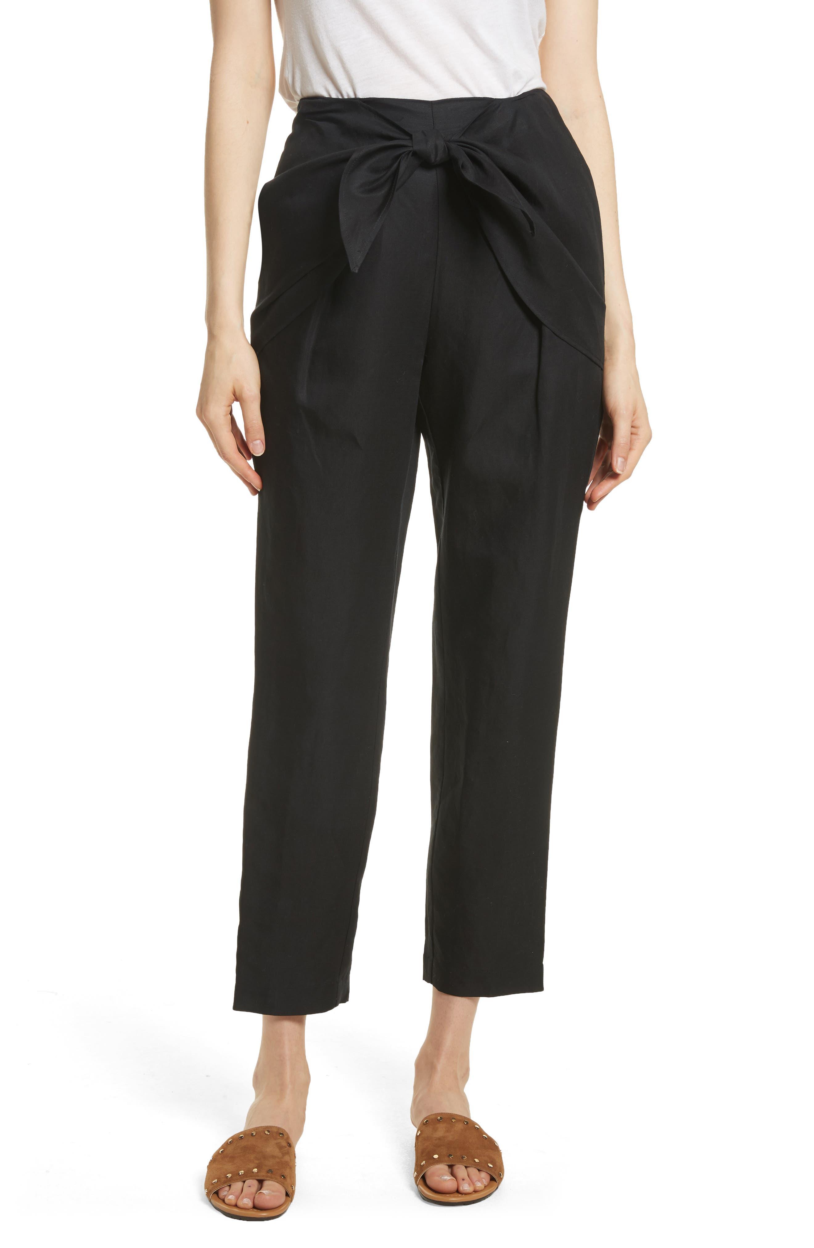 Overlap Knot Pants,                         Main,                         color, Noir