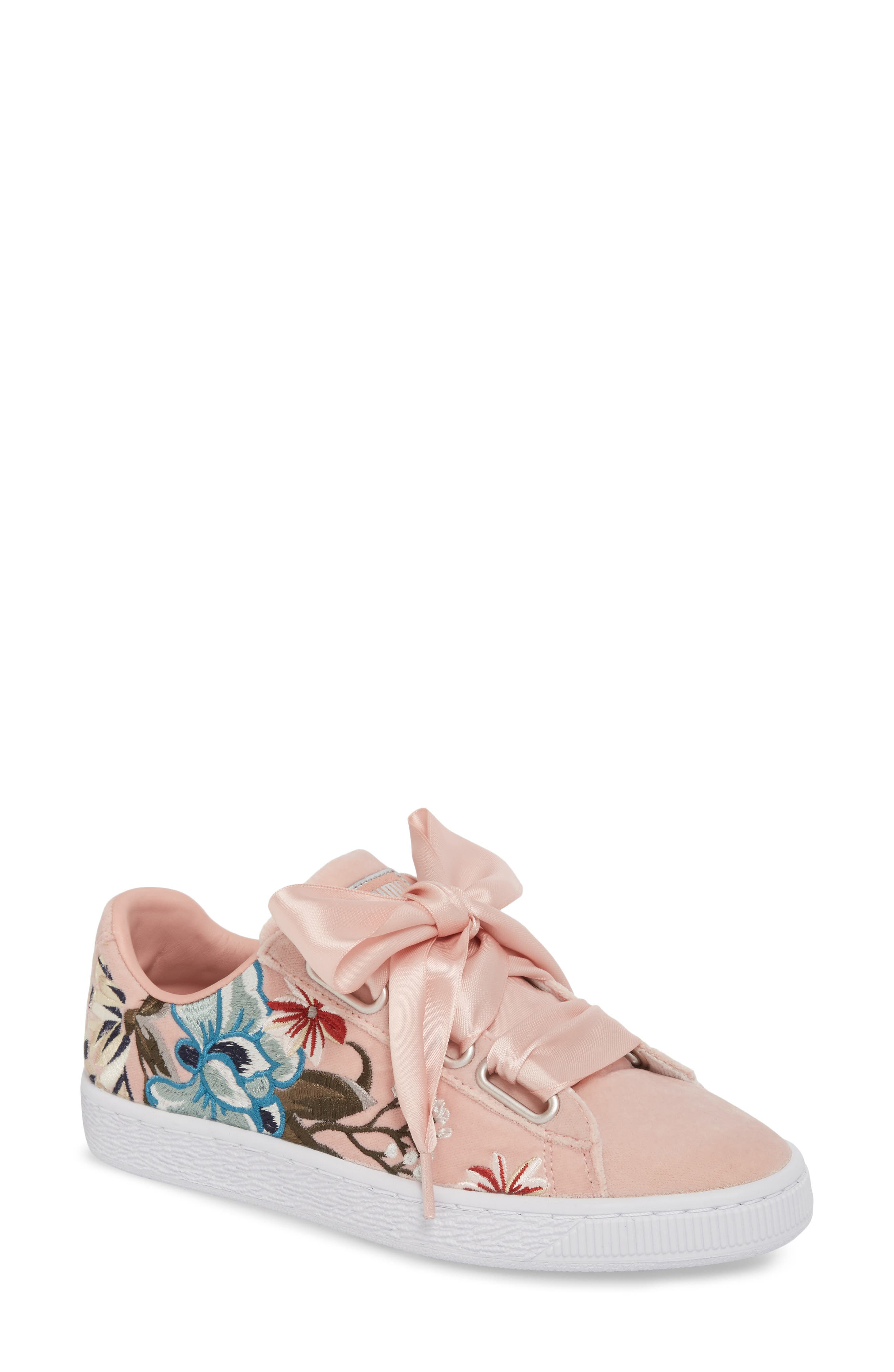 Basket Heart Hyper Embroidered Sneaker,                             Main thumbnail 1, color,                             Peach Beige