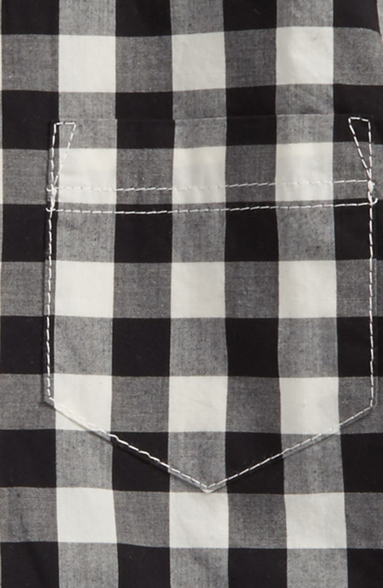 Photo Op Woven Shirt,                             Alternate thumbnail 2, color,                             Black- Ivory Gingham