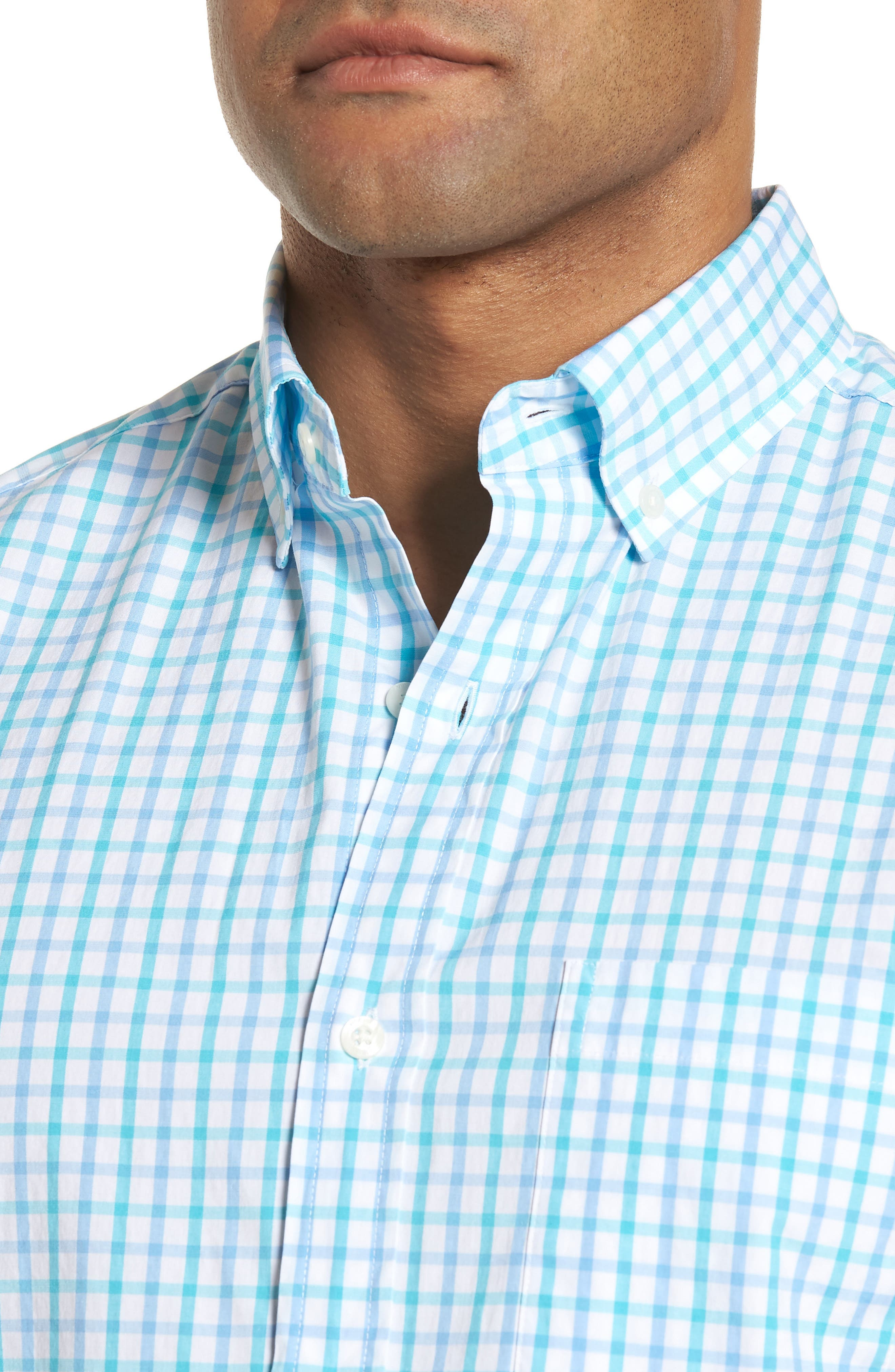 The Marls Classic Fit Stretch Check Sport Shirt,                             Alternate thumbnail 2, color,                             Turquoise
