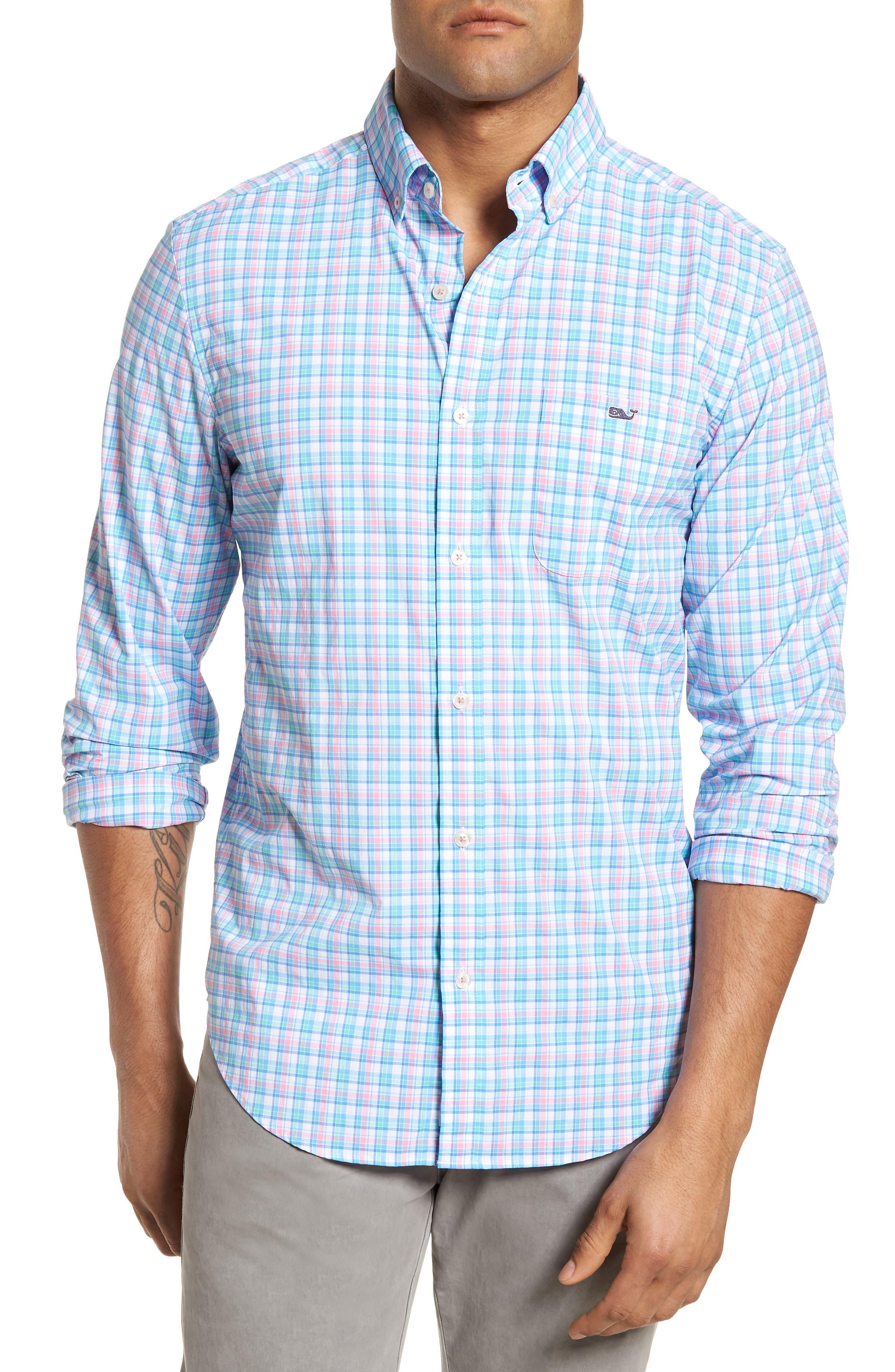 Tiki Bar Plaid Classic Fit Sport Shirt,                         Main,                         color, Pink