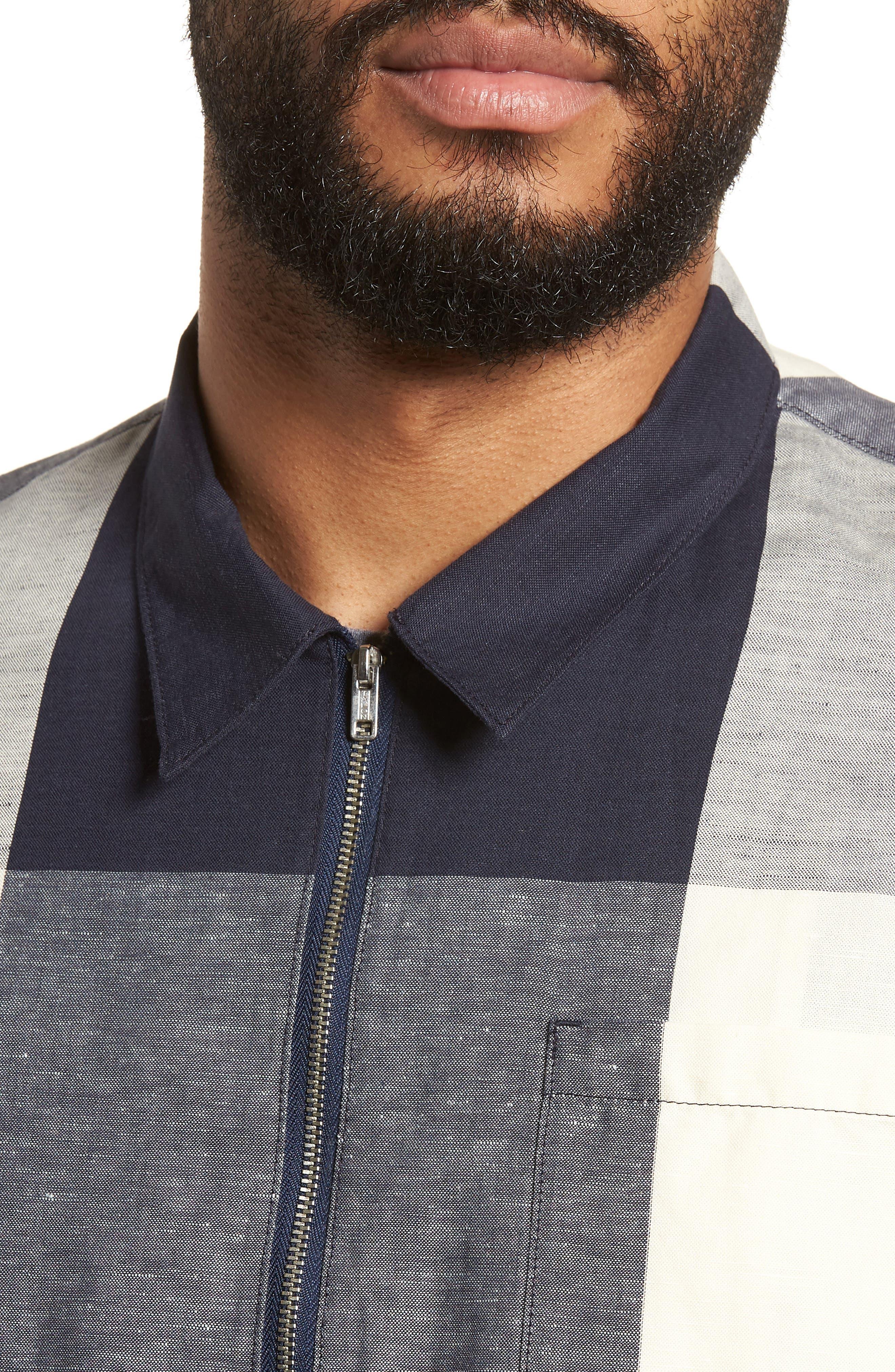 Doc Savage Regular Fit Check Sport Shirt,                             Alternate thumbnail 4, color,                             Ecru/ Navy
