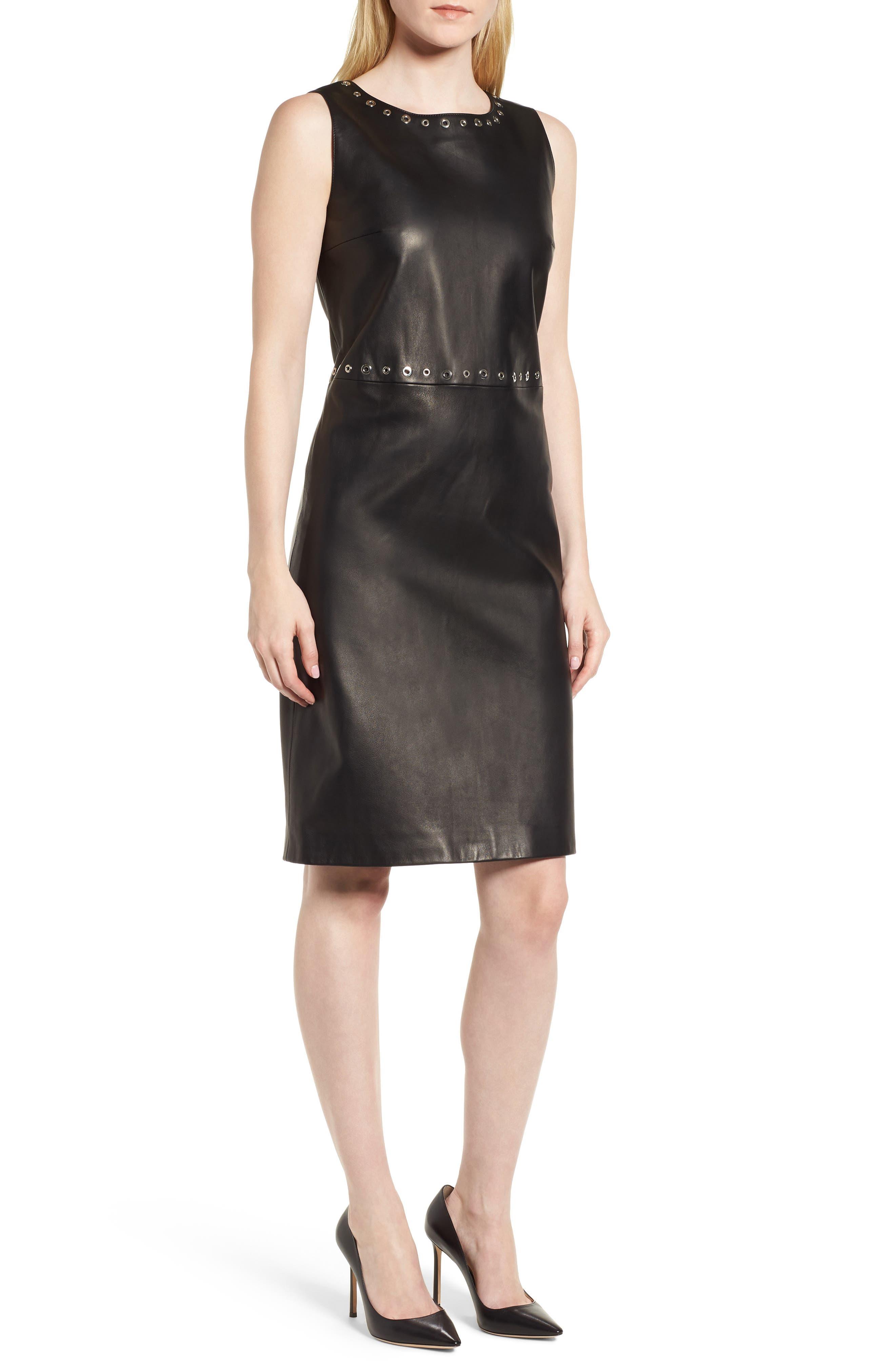 Syrix Leather Sheath Dress,                             Main thumbnail 1, color,                             Black