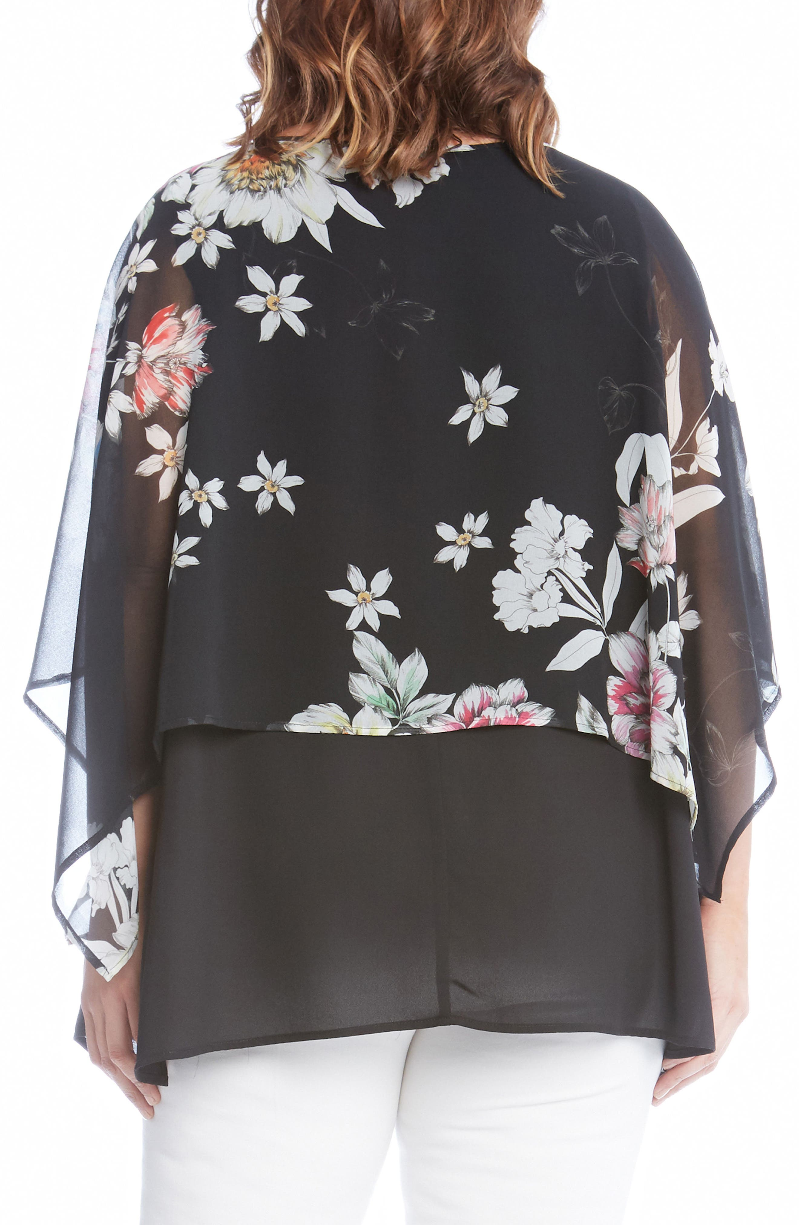 Sheer Floral Overlay Top,                             Alternate thumbnail 2, color,                             Black