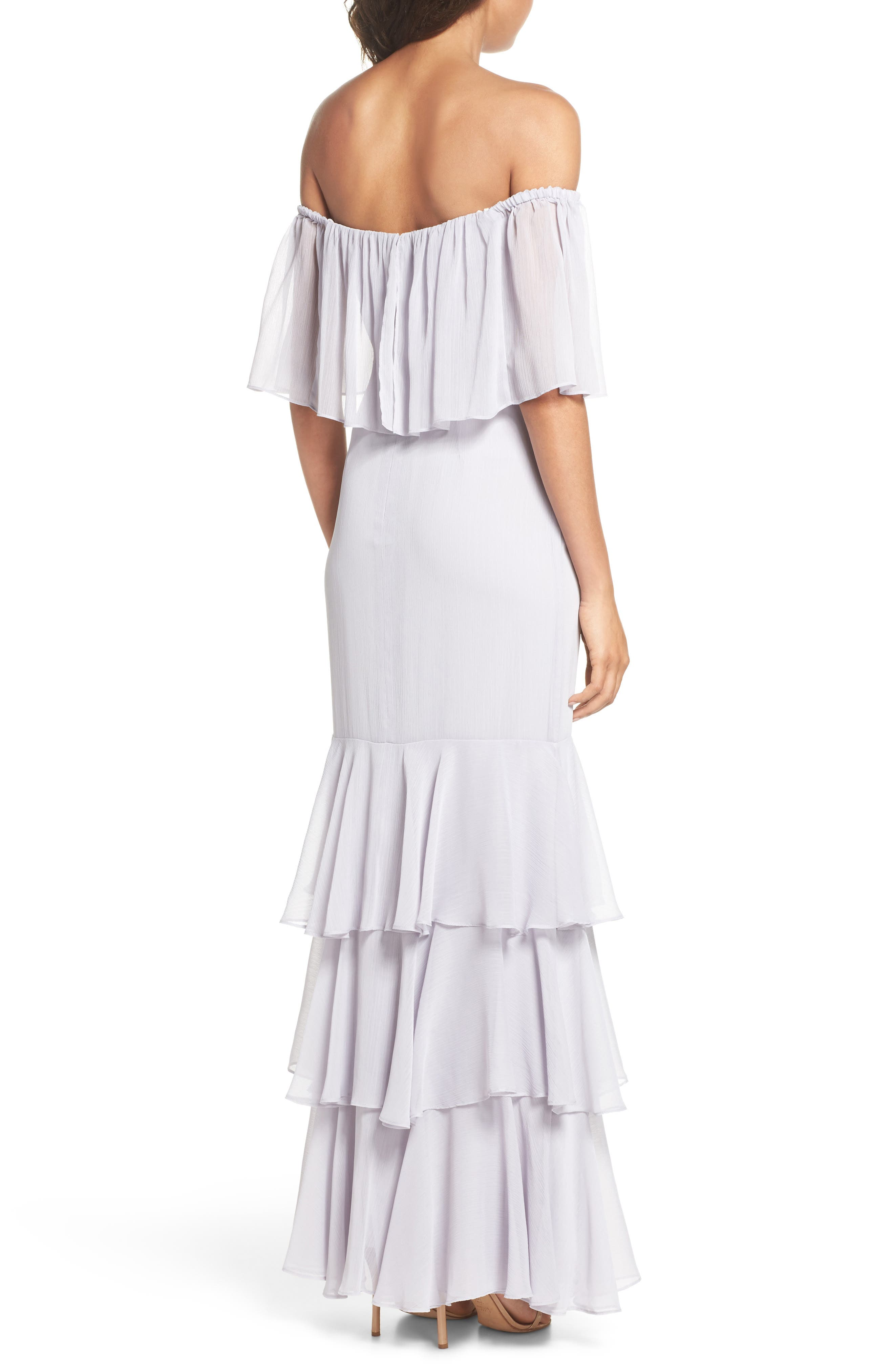 Penelope Off the Shoulder Popover Gown,                             Alternate thumbnail 2, color,                             Ice Marble