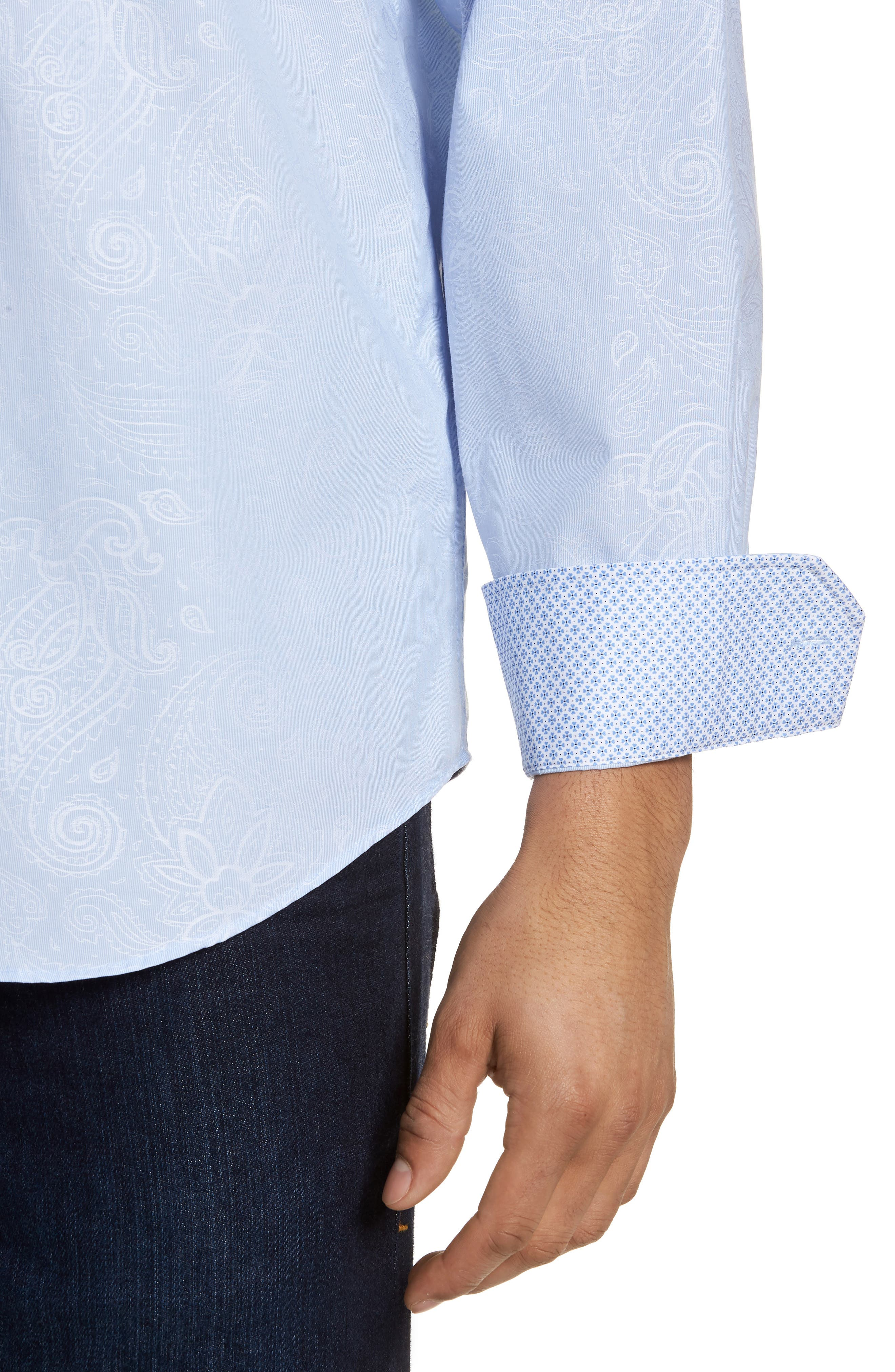 Classic Fit Woven Sport Shirt,                             Alternate thumbnail 4, color,                             Dusty Blue