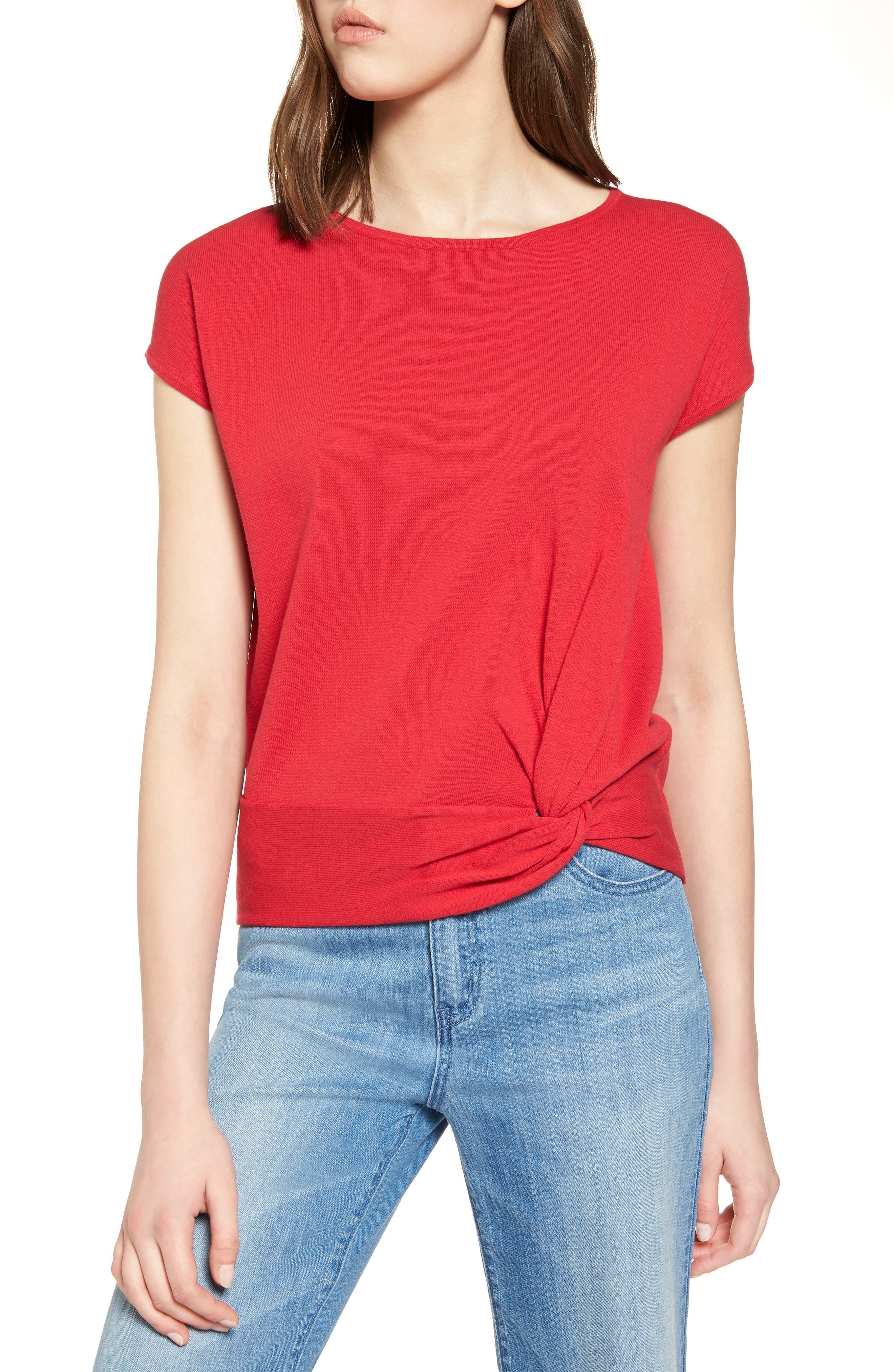 Halogen® Twist Front Cotton Sweater (Regular & Petite)
