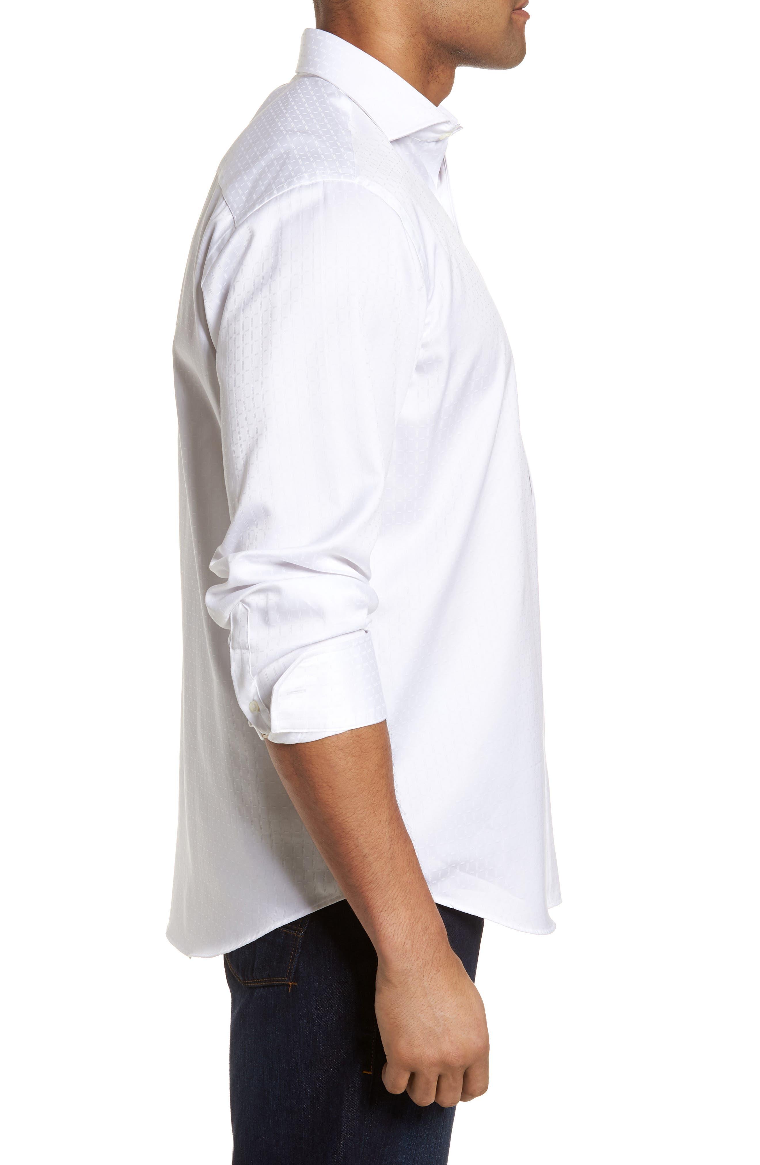 Classic Fit Woven Sport Shirt,                             Alternate thumbnail 3, color,                             White