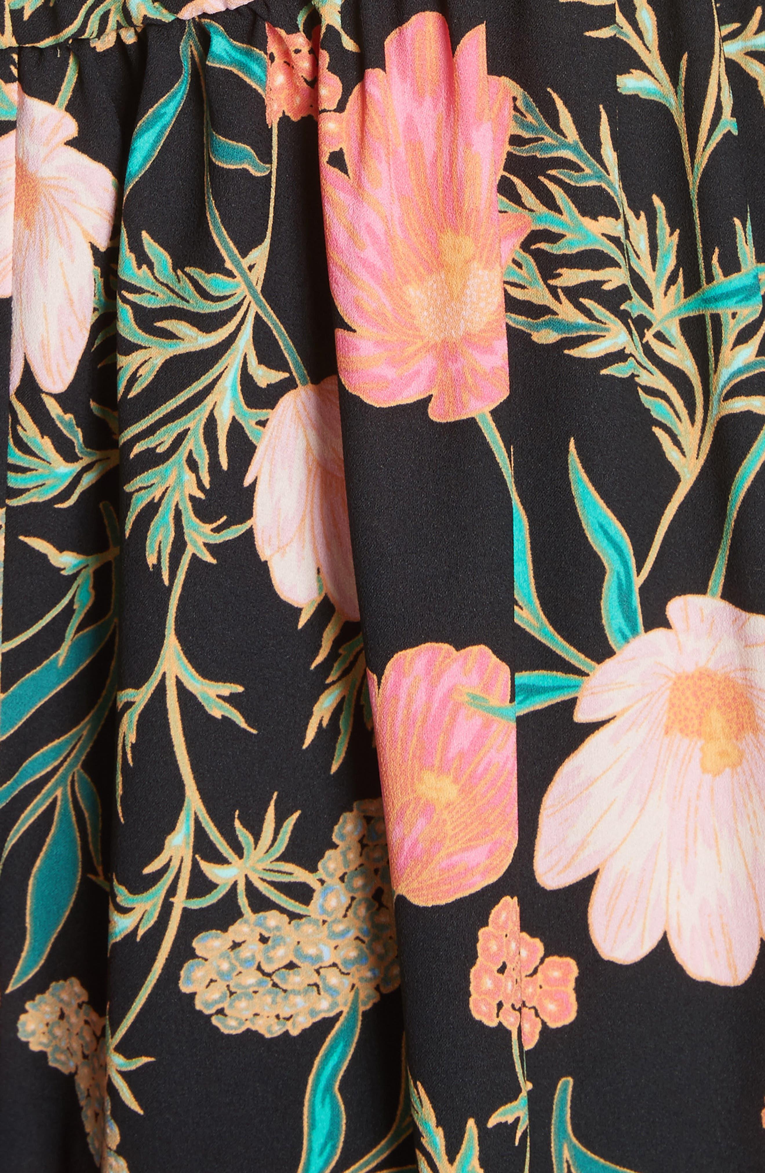 blossom cold shoulder dress,                             Alternate thumbnail 5, color,                             Black