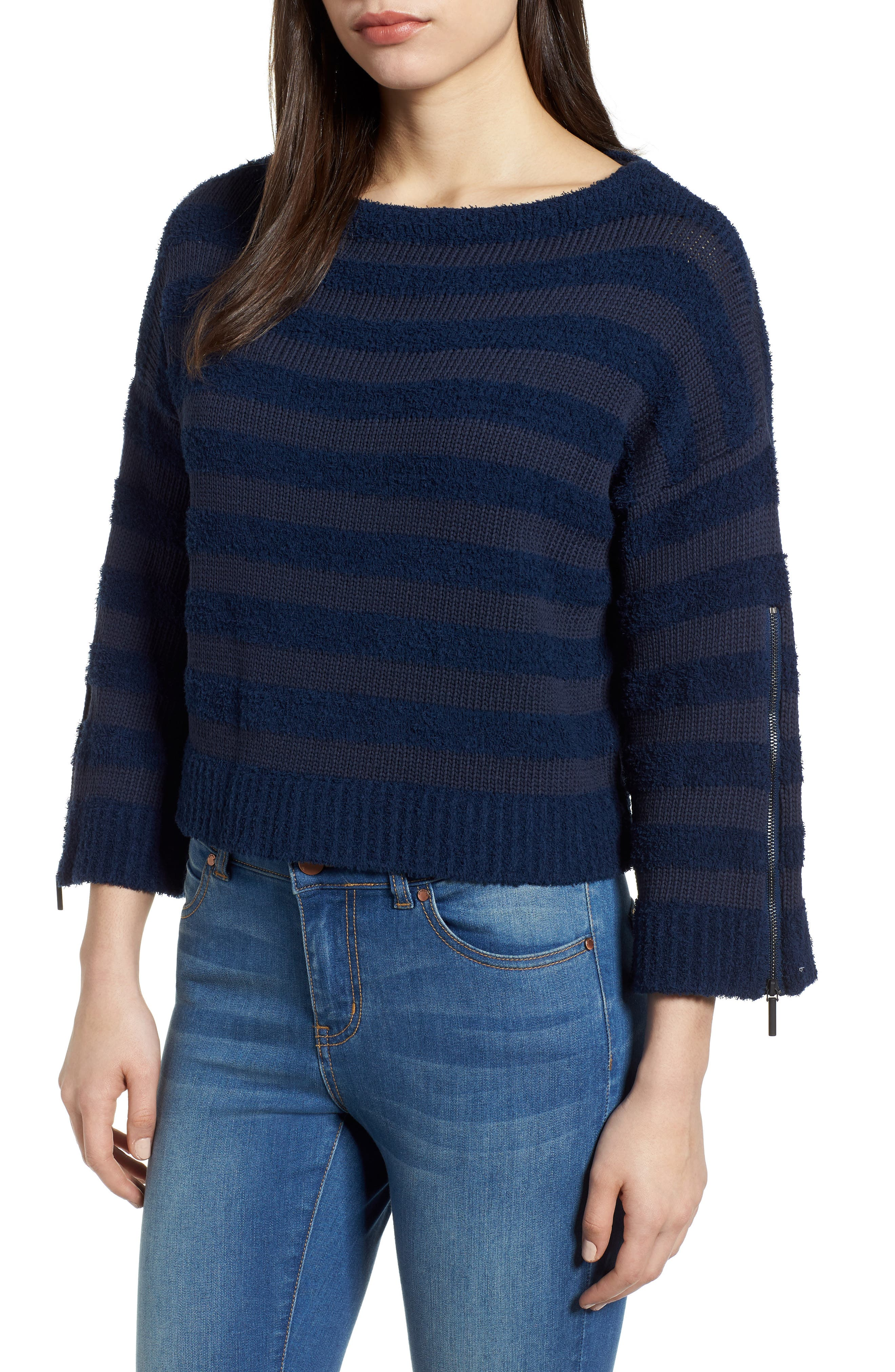 Zip Sleeve Stripe Sweater,                             Main thumbnail 1, color,                             Indigo