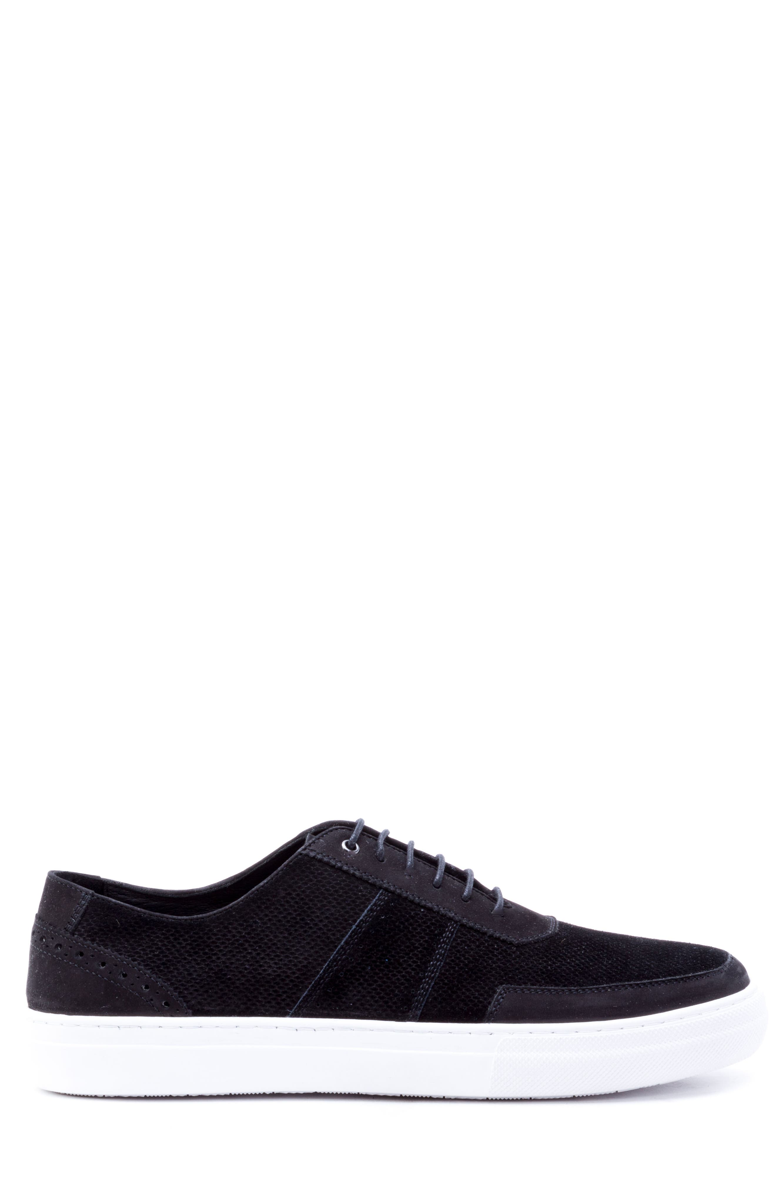 House Low Top Sneaker,                             Alternate thumbnail 3, color,                             Black Suede/ Leather
