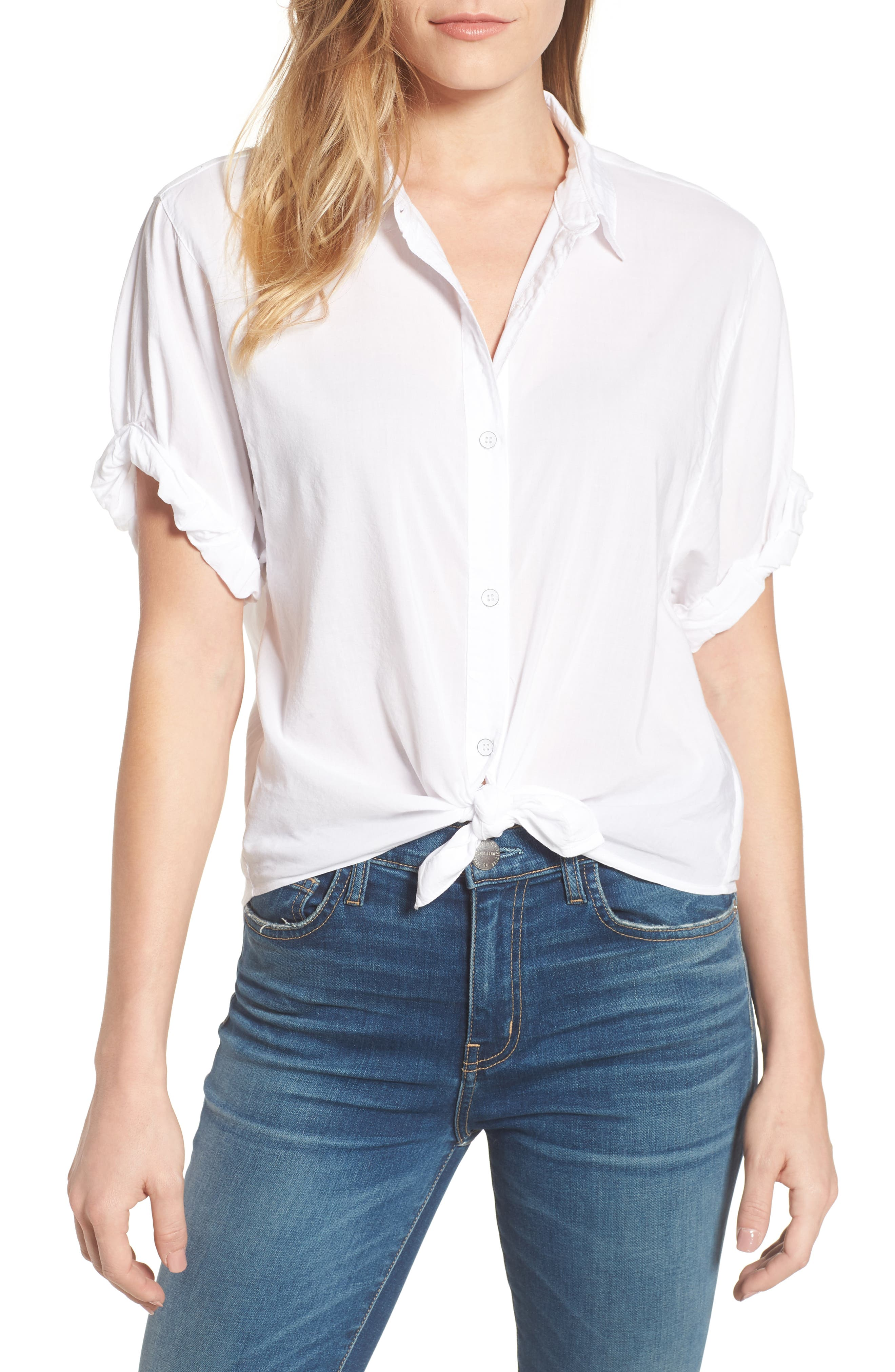 Tie Front Voile Top,                         Main,                         color, White