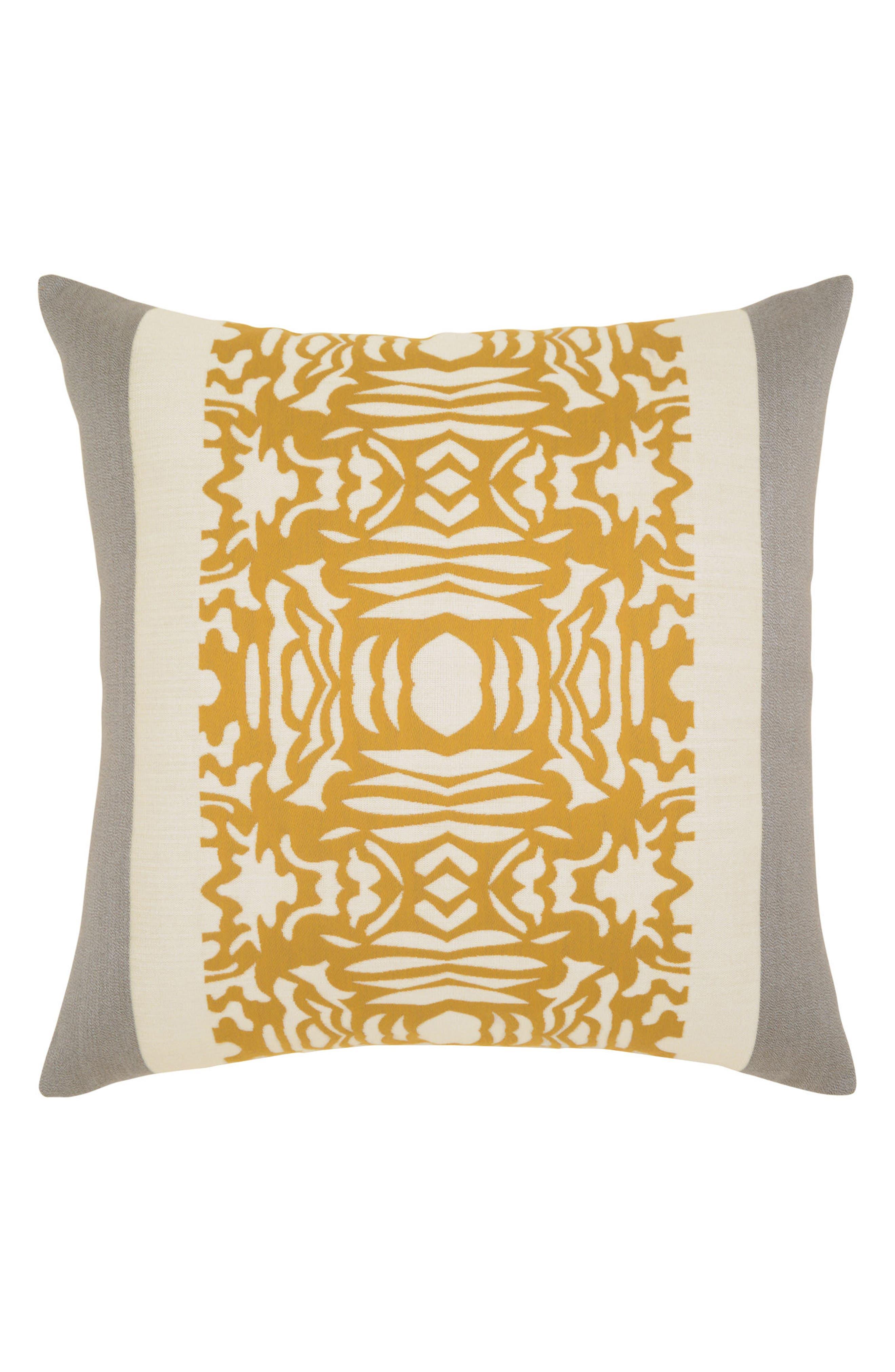 Metallic Block Indoor/Outdoor Accent Pillow,                             Main thumbnail 1, color,                             Gold/ Grey
