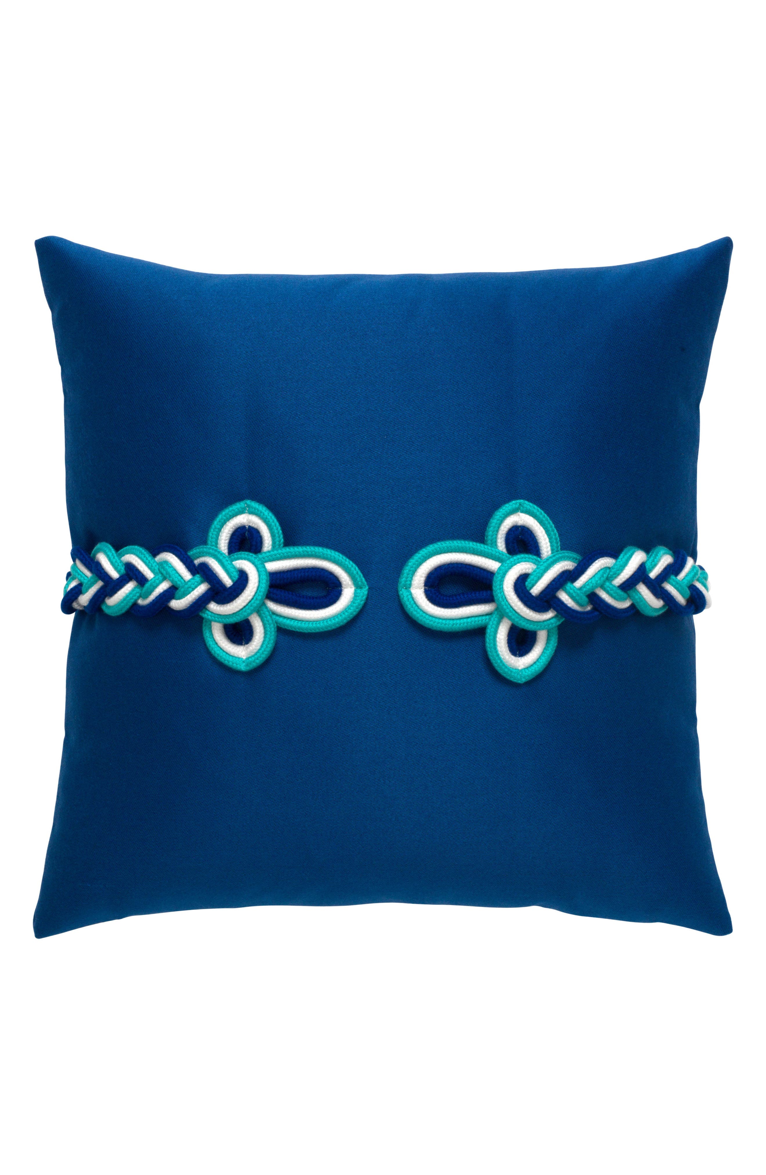Cobalt Frogs Clasp Indoor/Outdoor Accent Pillow,                         Main,                         color, Blue