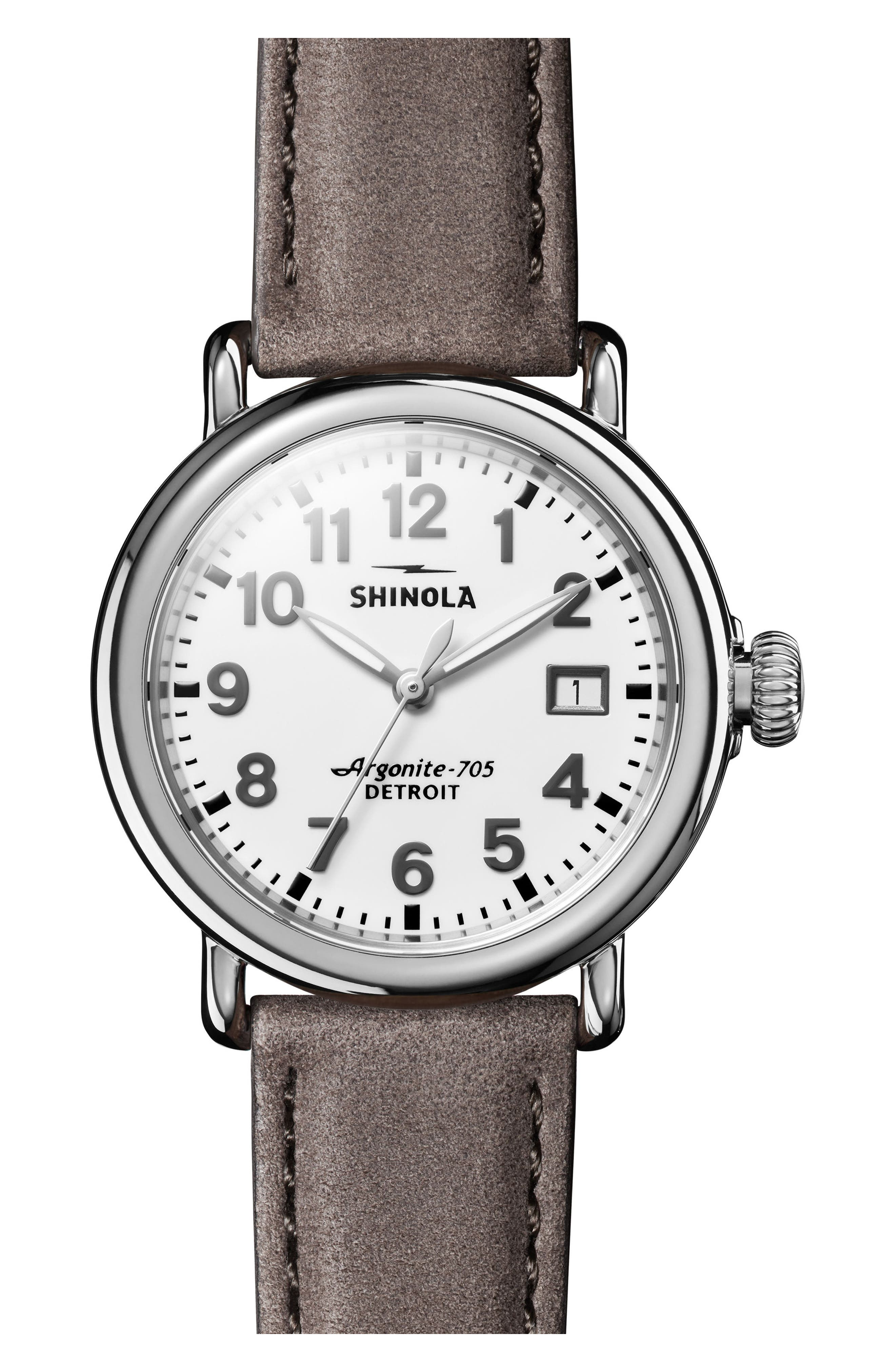 The Runwell Leather Strap Watch, 36mm,                         Main,                         color, Grey/ White/ Silver