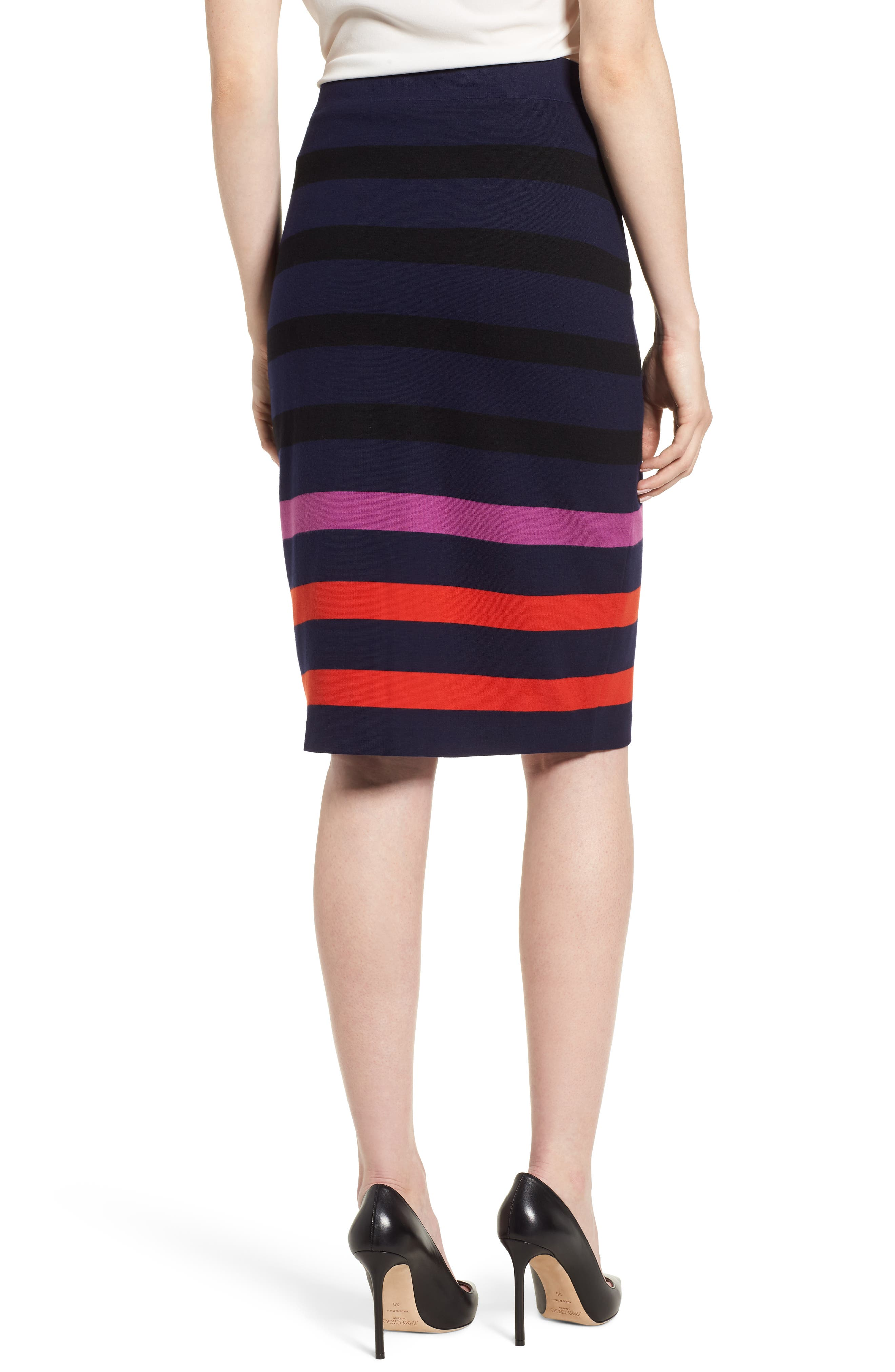 Ebienne Stripe Pencil Skirt,                             Alternate thumbnail 2, color,                             Nautical Blue Fantasy