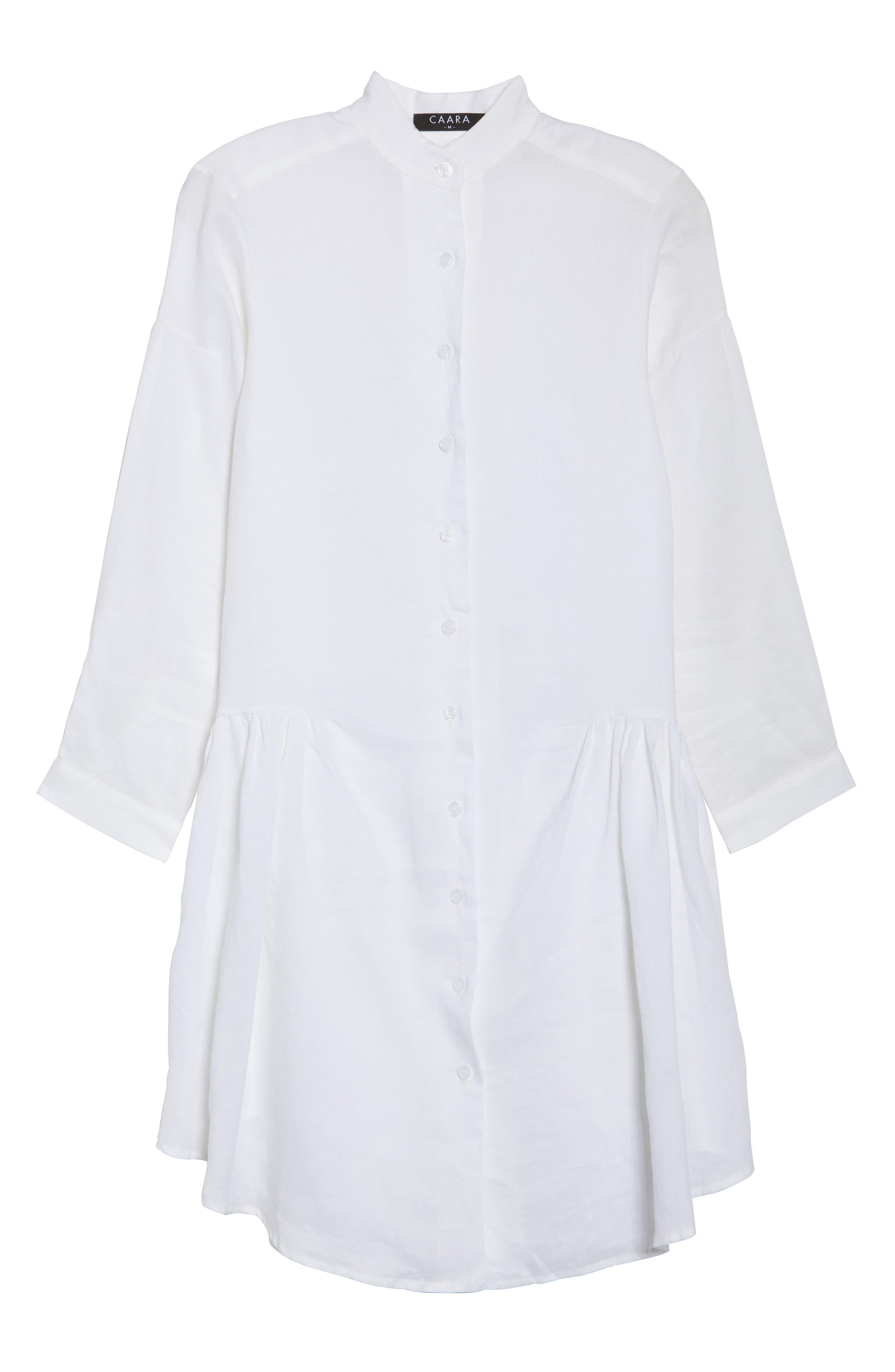 Tria Linen Shirtdress,                             Alternate thumbnail 6, color,                             White