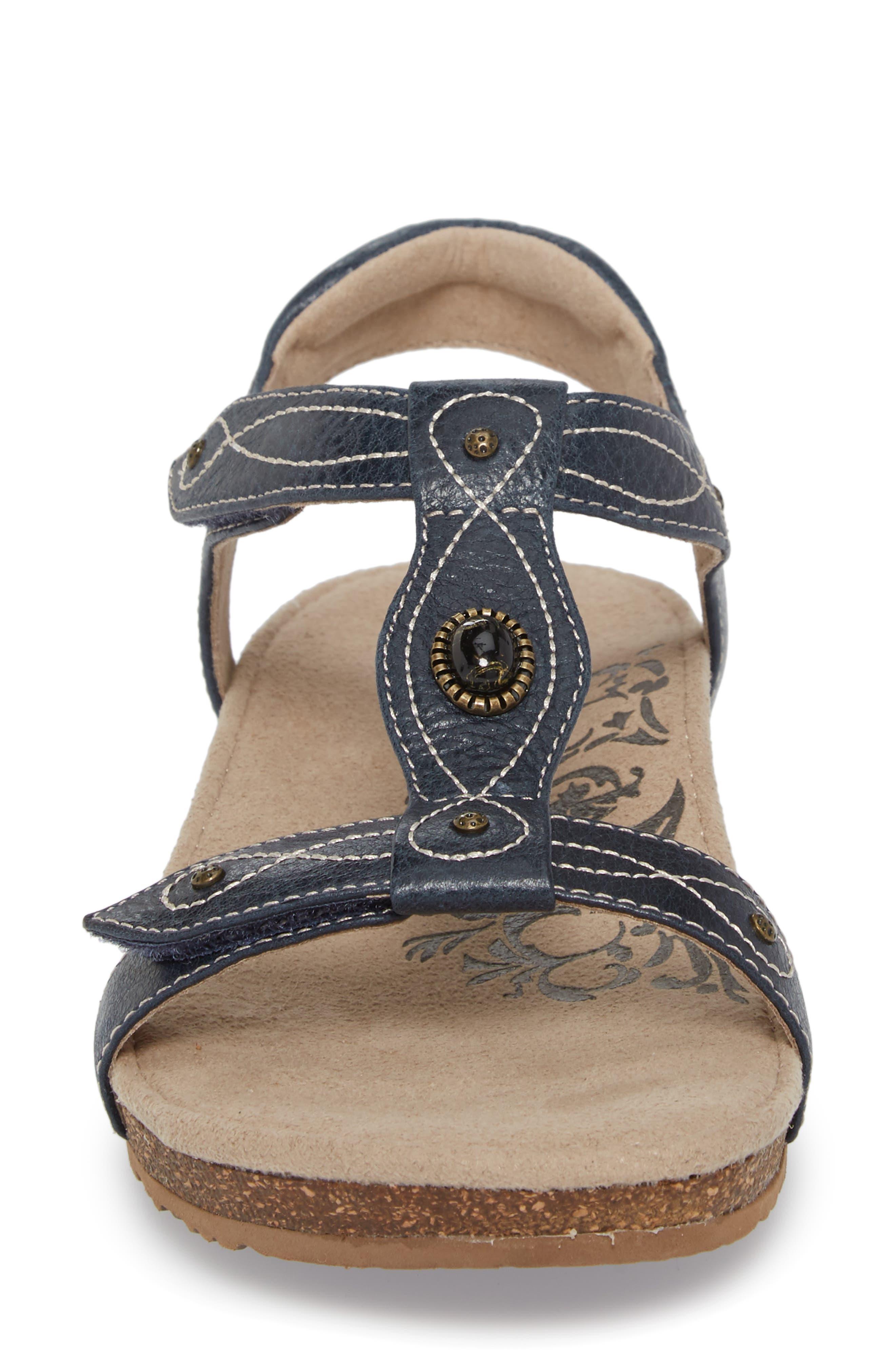 'Lori' Sandal,                             Alternate thumbnail 4, color,                             Navy Leather