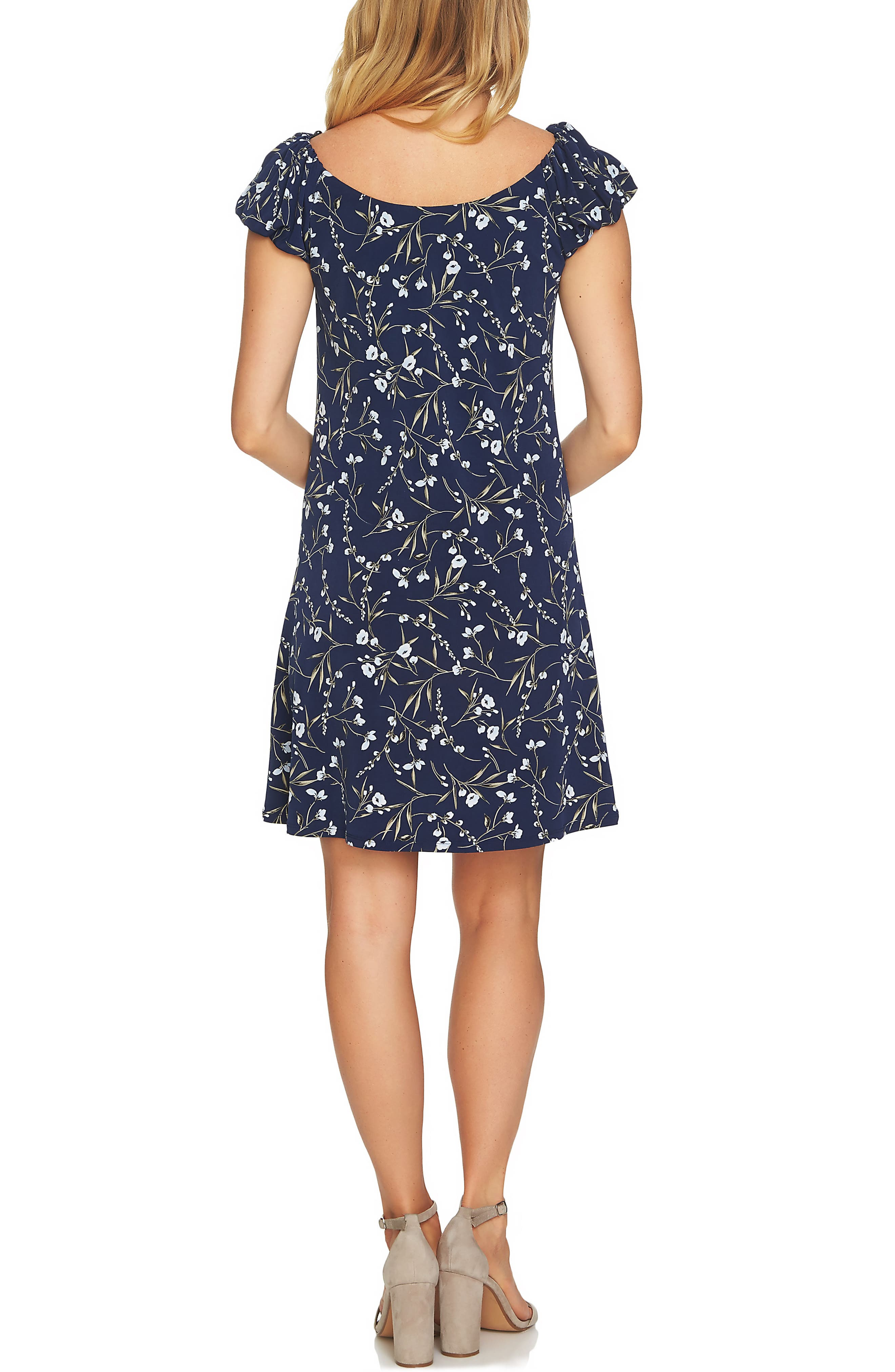 Graceful Flora Puff Sleeve Dress,                             Alternate thumbnail 2, color,                             Naval Navy