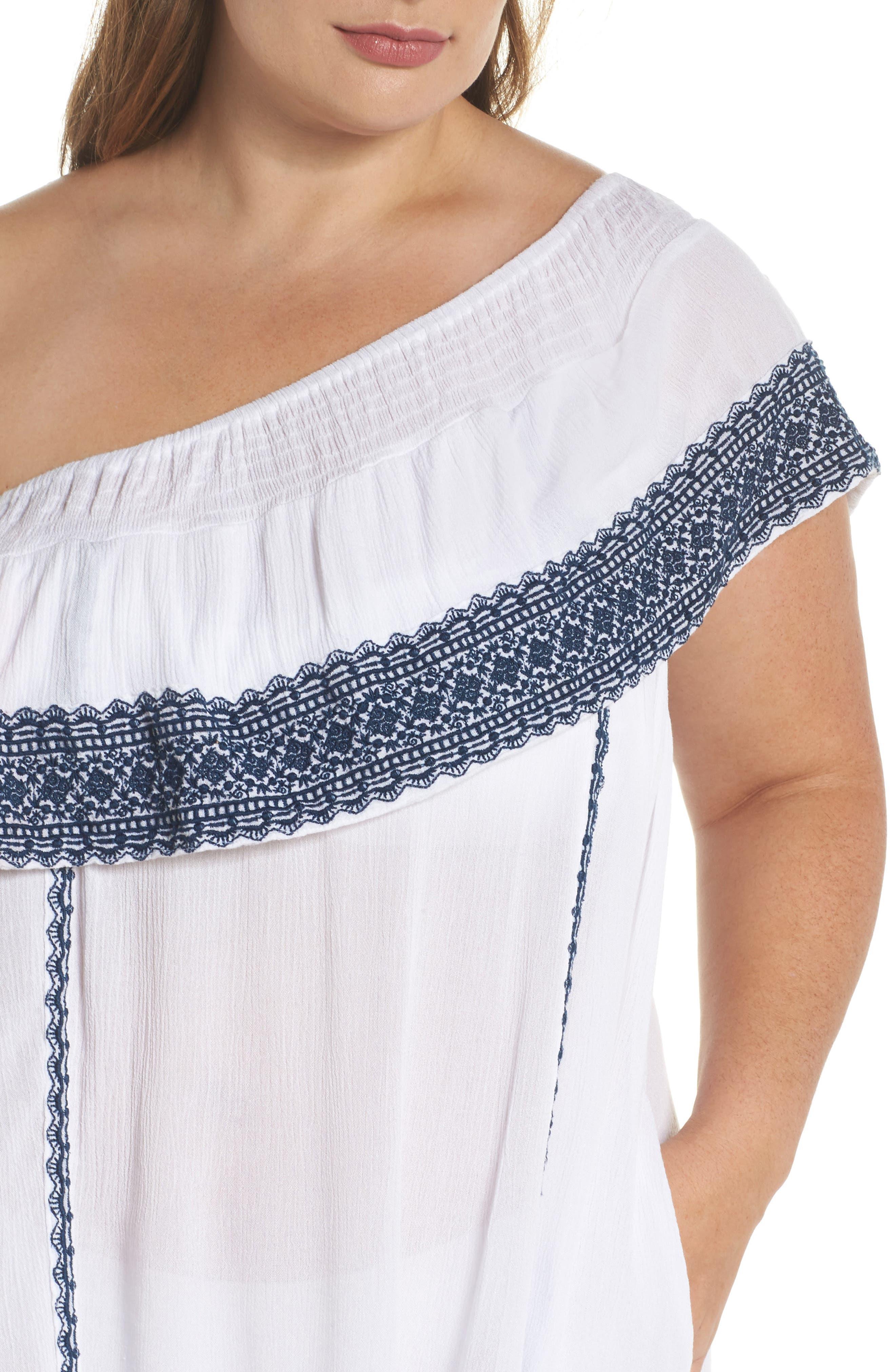Gavin One-Shoulder Cover-Up Dress,                             Alternate thumbnail 4, color,                             White/ Navy