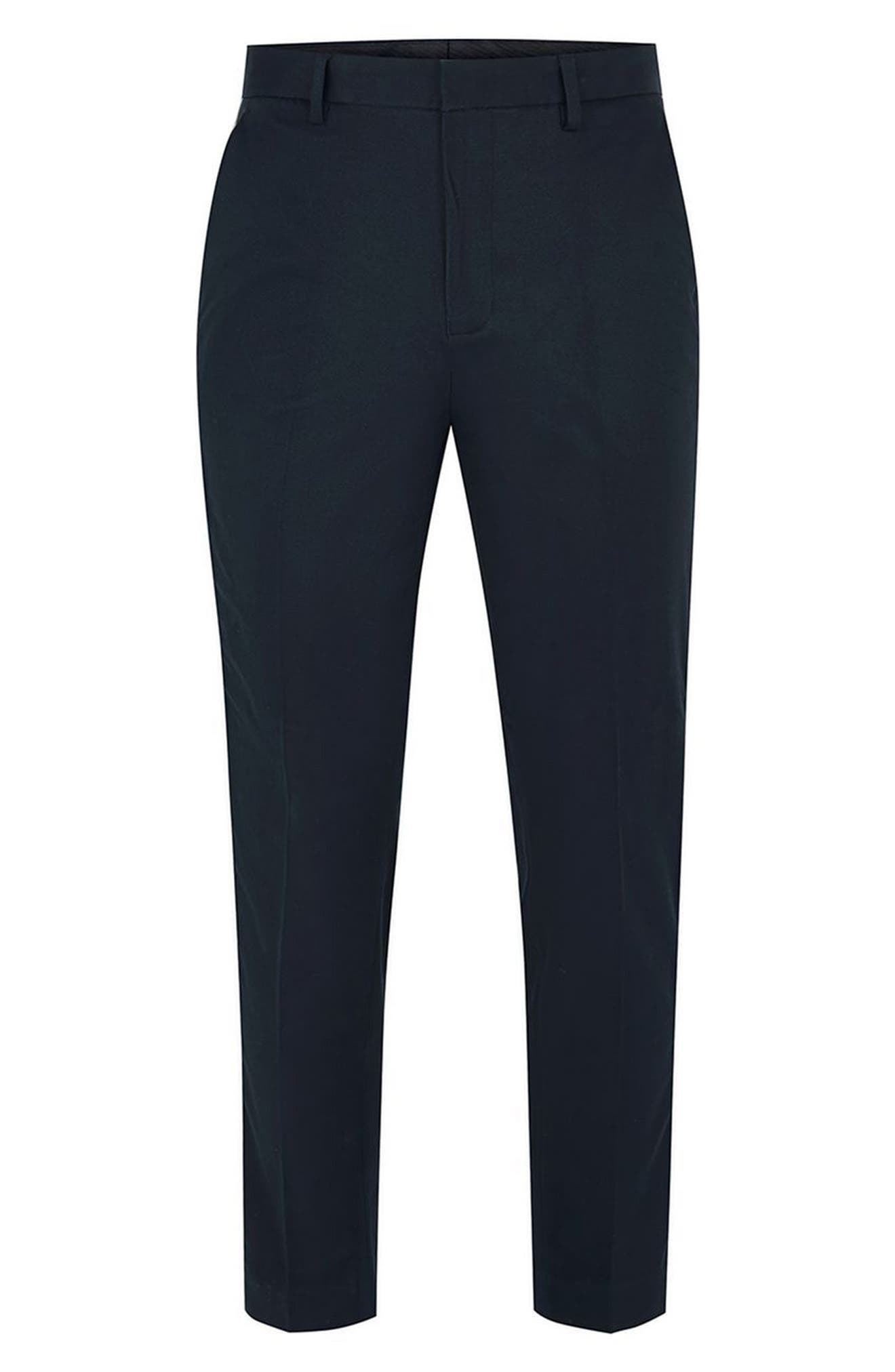 Skinny Fit Cropped Twill Trousers,                             Alternate thumbnail 4, color,                             Dark Blue Multi